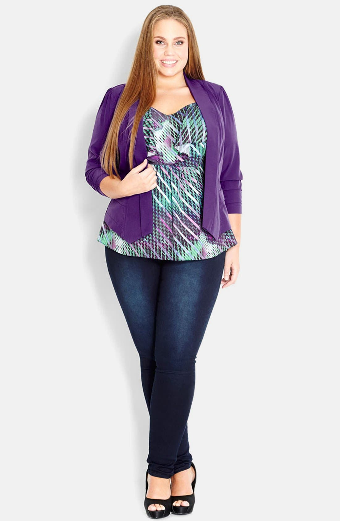 Main Image - City Chic 'Cool Pocket' Open Front Jacket (Plus Size)