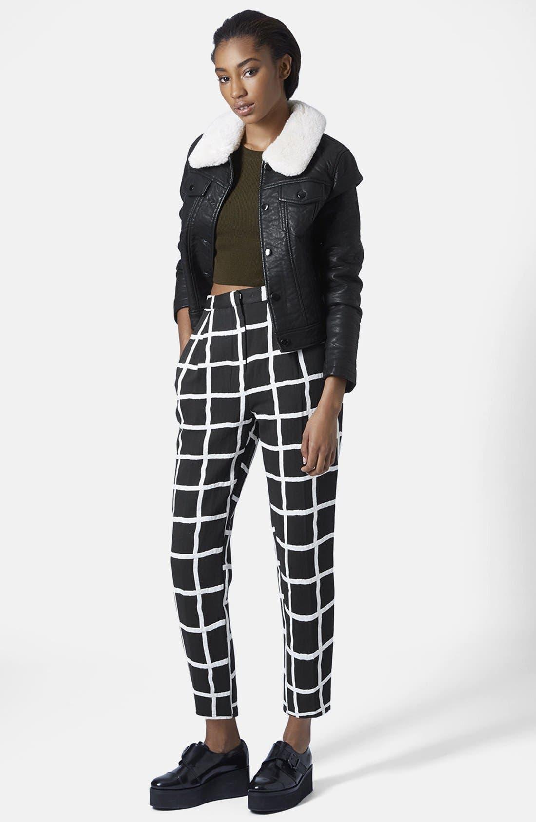 Alternate Image 5  - Topshop Windowpane Peg Trousers