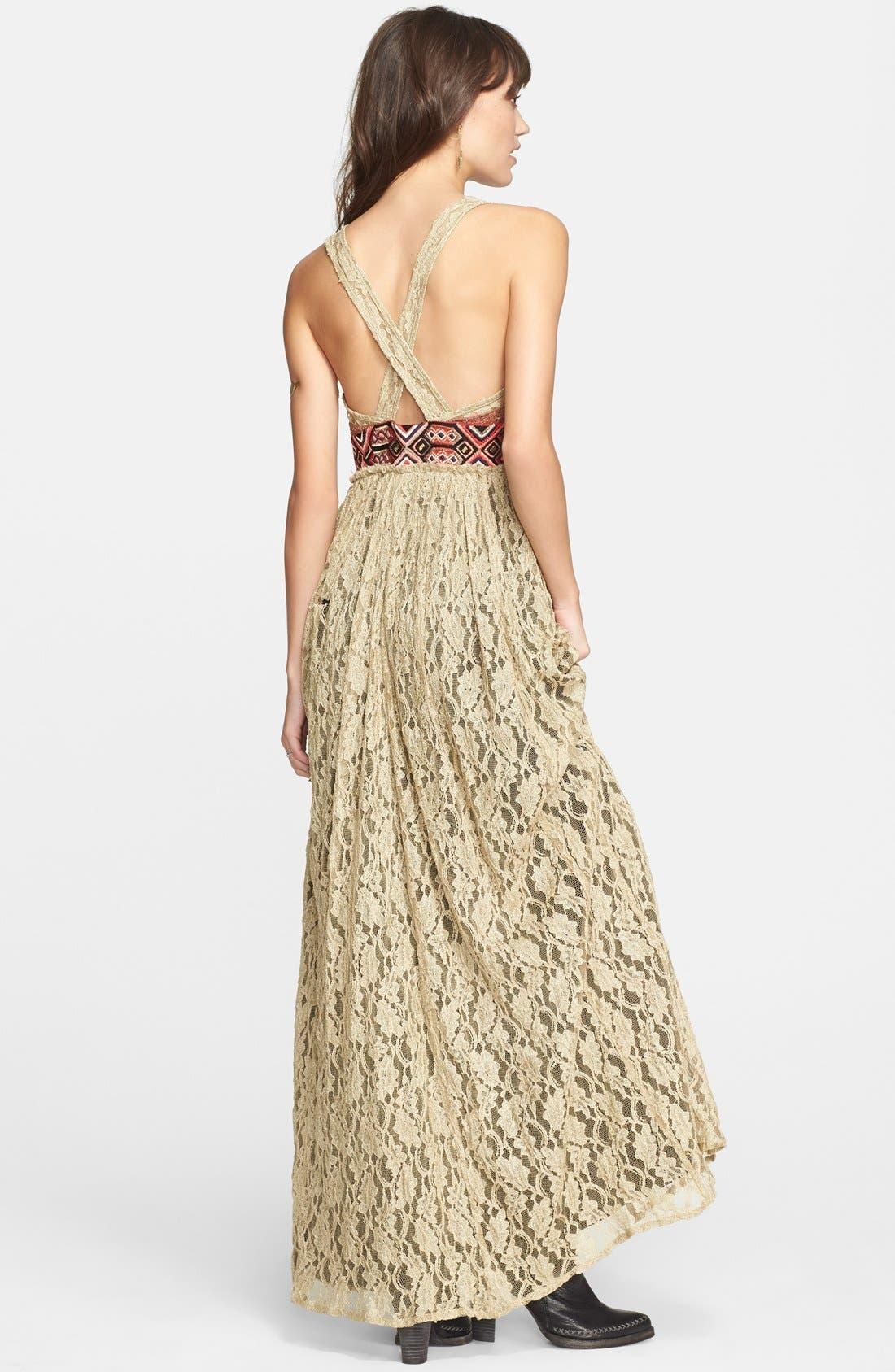 Alternate Image 2  - Free People Crushed Gold Lace Dress
