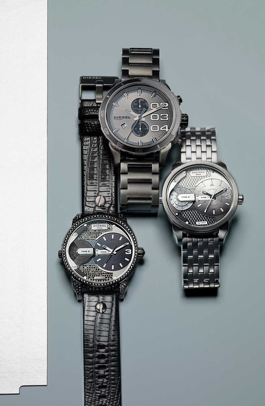 Alternate Image 3  - DIESEL® 'Double Down 2.0' Round Chronograph Bracelet Watch, 48mm