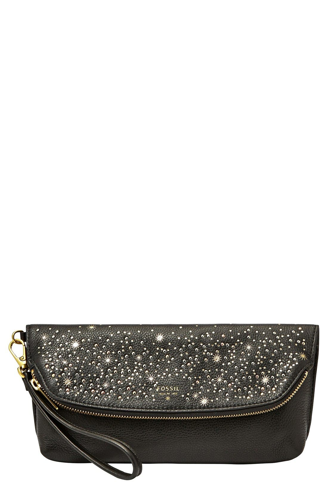 Main Image - Fossil 'Preston' Leather Foldover Clutch