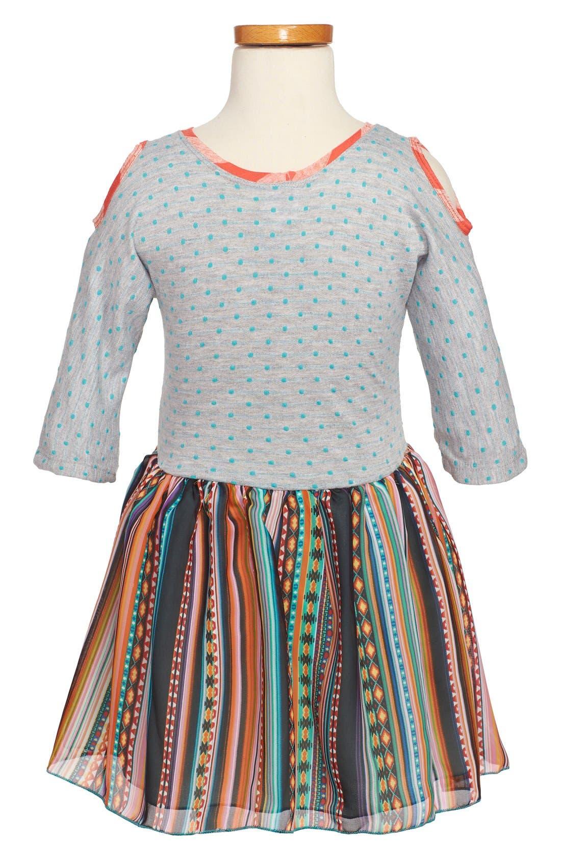 Alternate Image 2  - Twirls & Twigs Knit-to-Woven Mixed Print Dress (Little Girls & Big Girls)