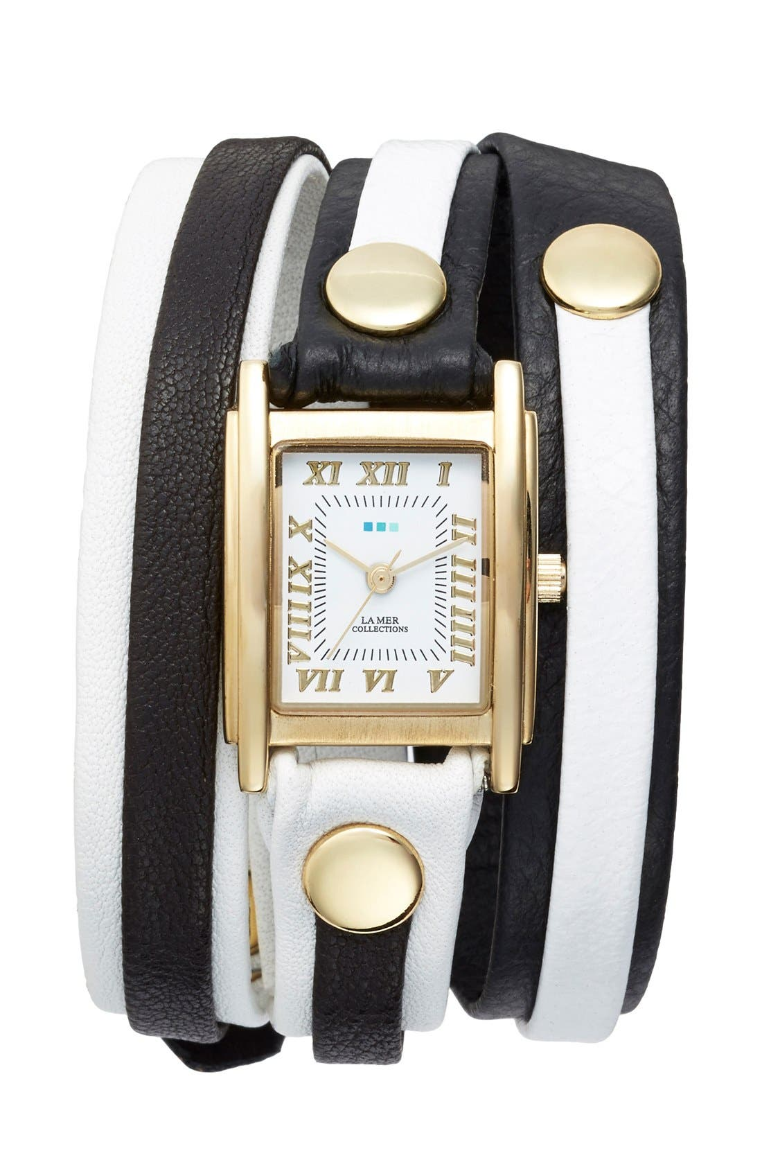 Alternate Image 1 Selected - La Mer Collections 'Mix Up' Leather Wrap Watch
