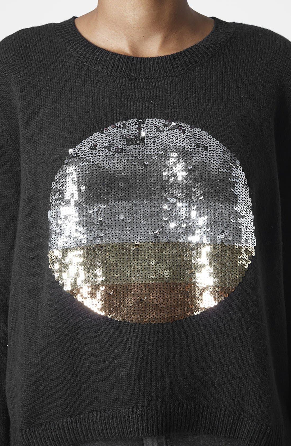 Alternate Image 4  - Topshop Sequin Spot Sweater