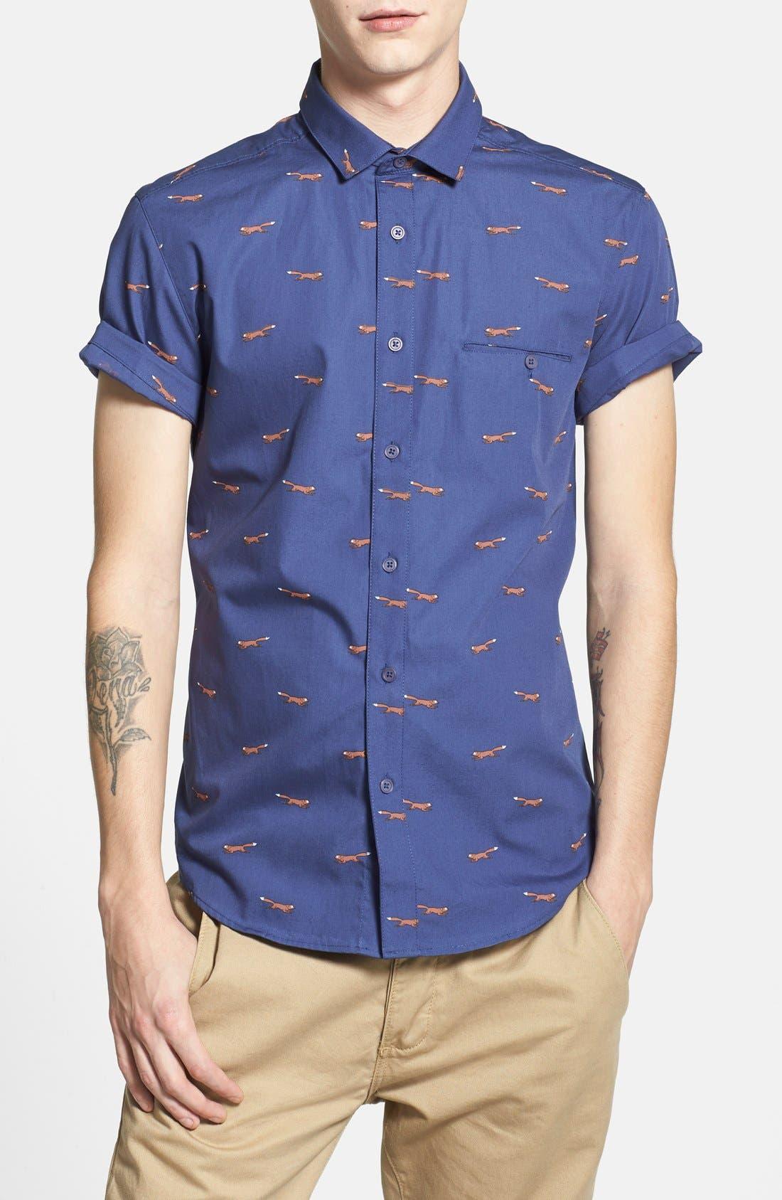Alternate Image 1 Selected - Topman Short Sleeve All Over Fox Print Shirt