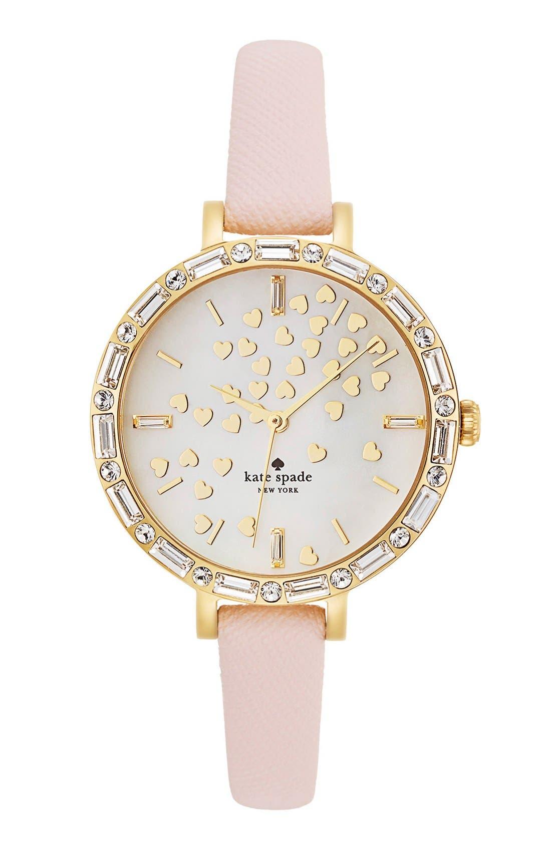 Main Image - kate spade new york 'metro' crystal bezel heart dial watch, 34mm
