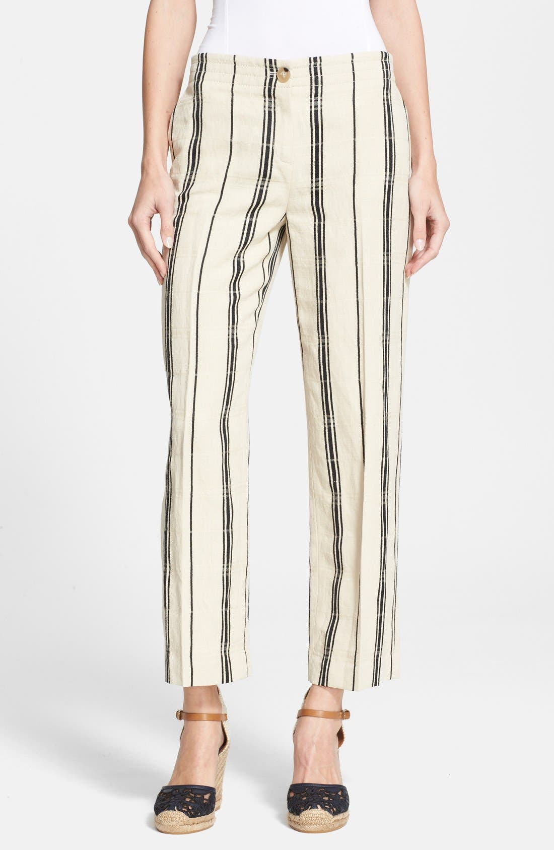 Main Image - Tory Burch 'Carrie' Stripe Silk Blend Wide Leg Crop Pants