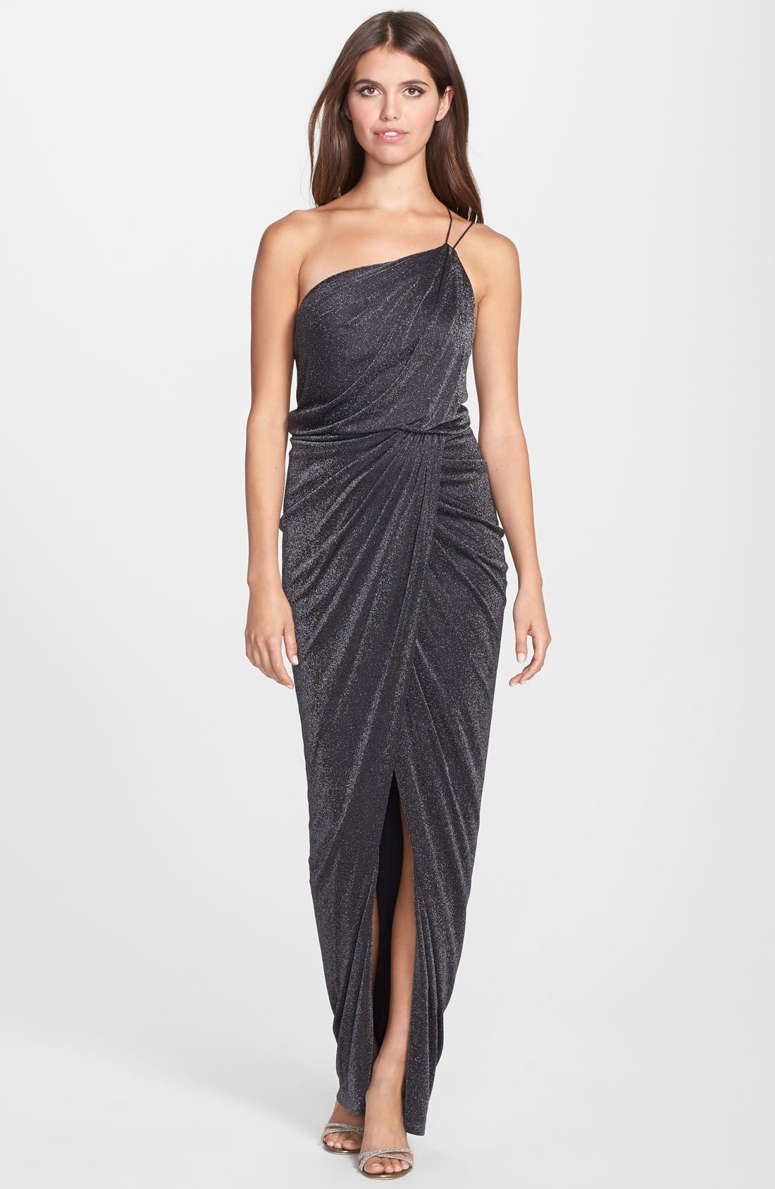 Main Image - Aidan by Aidan Mattox One Shoulder Metallic Knit Gown