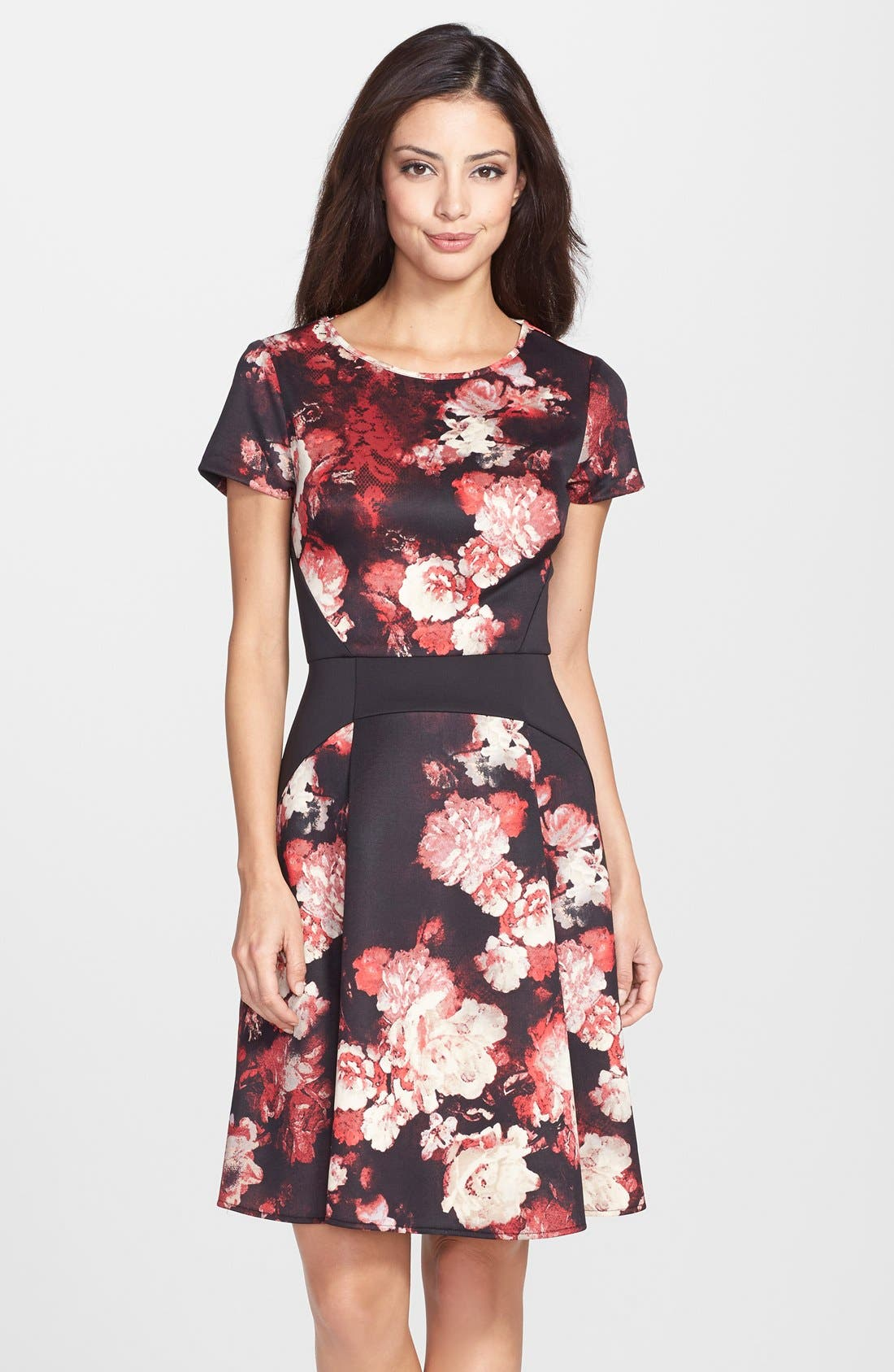 Alternate Image 1 Selected - Adrianna Papell Print Scuba Fit & Flare Dress