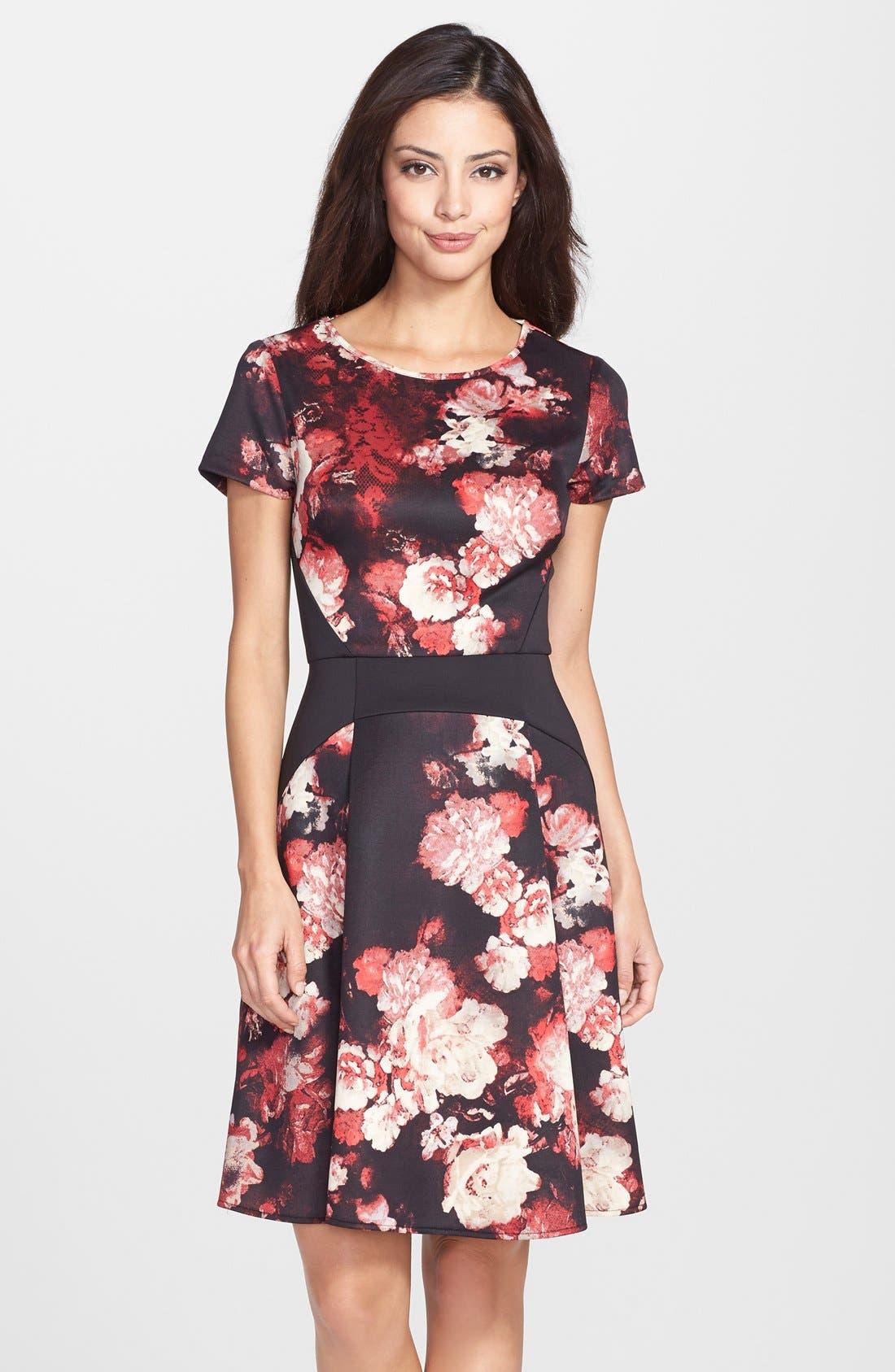 Main Image - Adrianna Papell Print Scuba Fit & Flare Dress