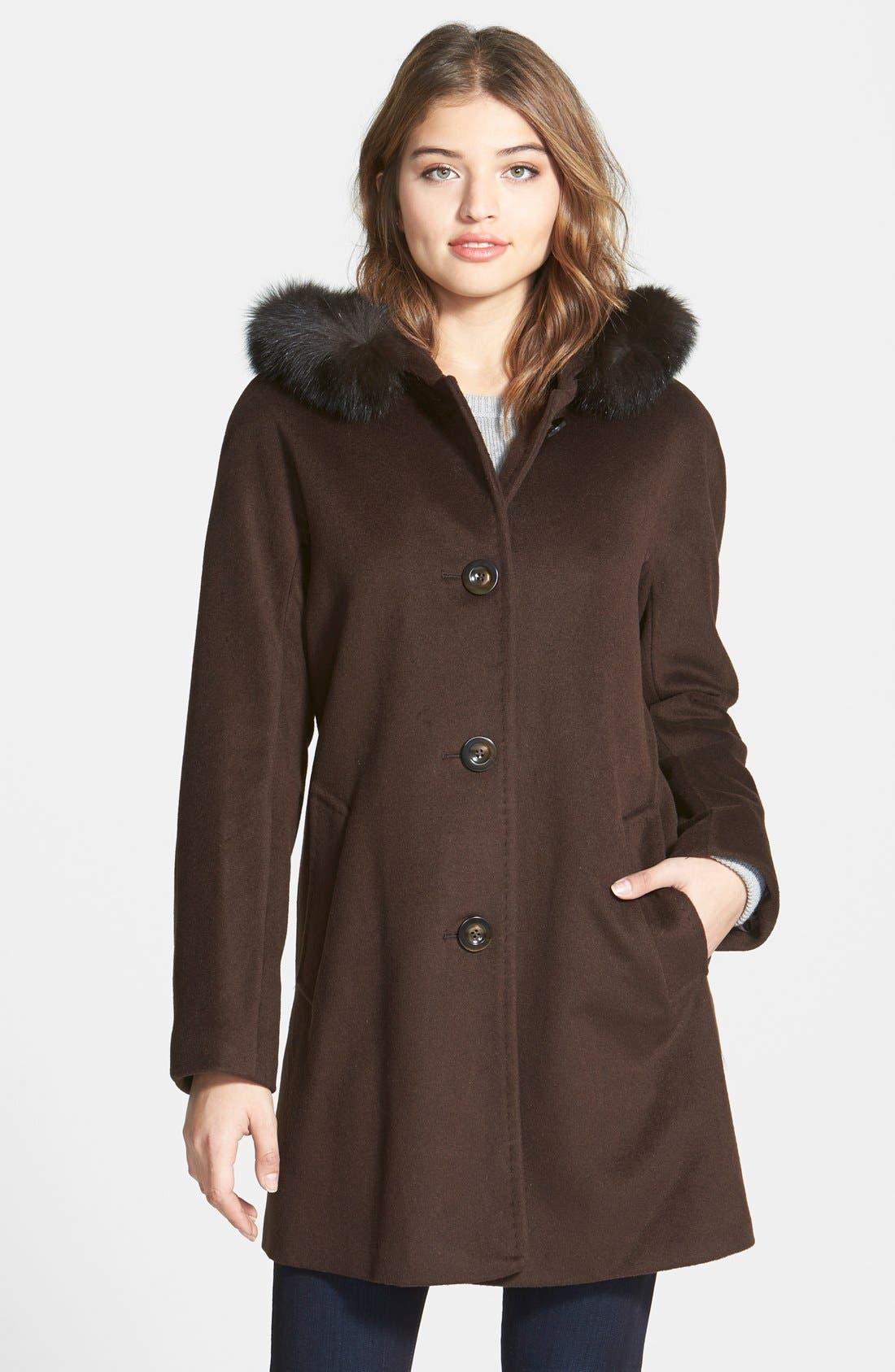 Alternate Image 1 Selected - Ellen Tracy Kimono Sleeve Jacket with Genuine Fox Fur Trim (Online Only)
