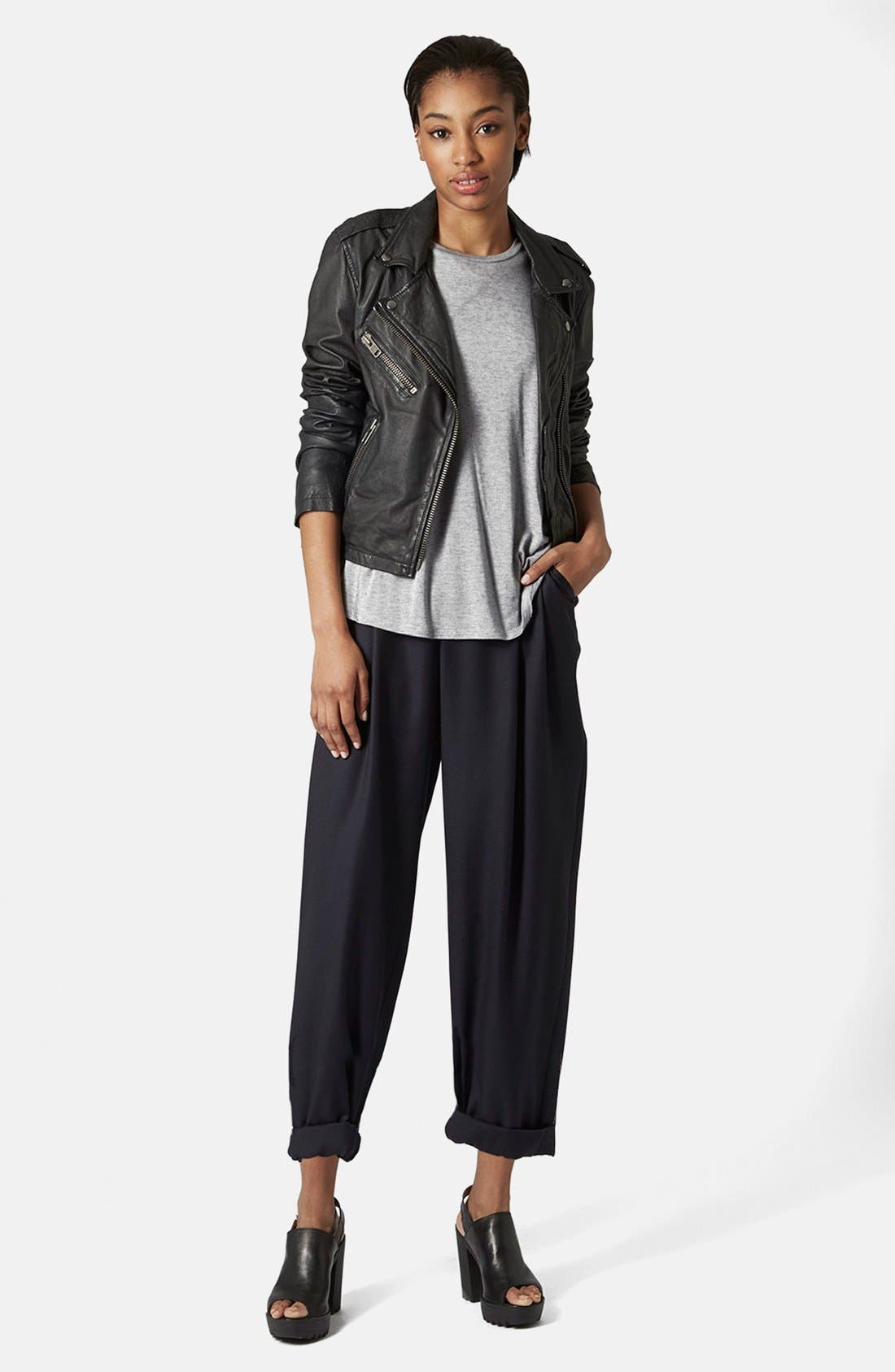 Alternate Image 5  - Topshop Boutique Slouchy Roll-Up Trousers