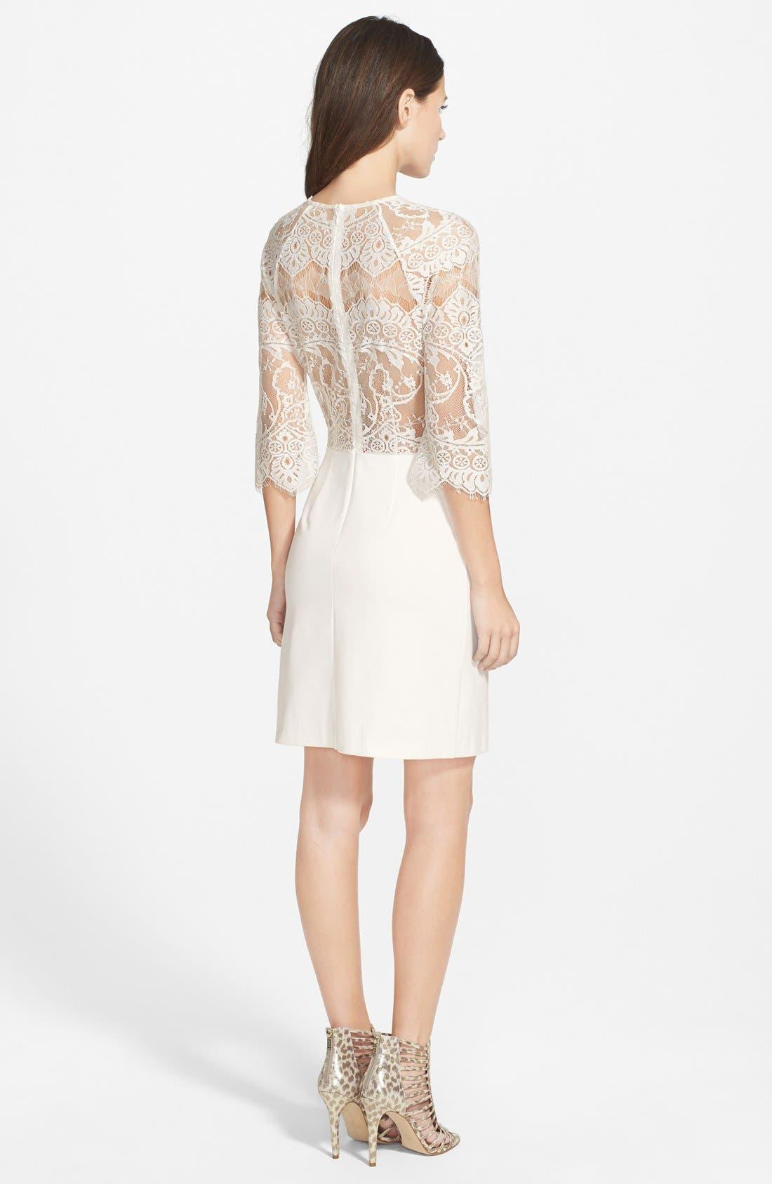 Alternate Image 2  - BB Dakota Lace & Ponte Sheath Dress