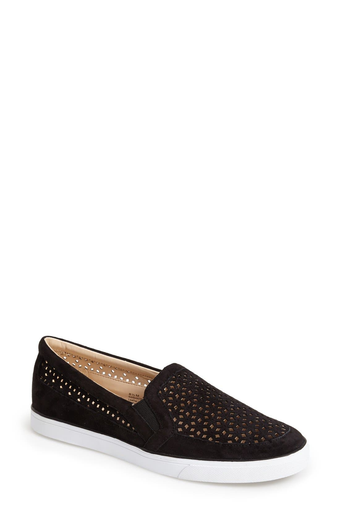 Alternate Image 1 Selected - Nine West 'Banter' Perforated Suede Slip-On Sneaker (Women)