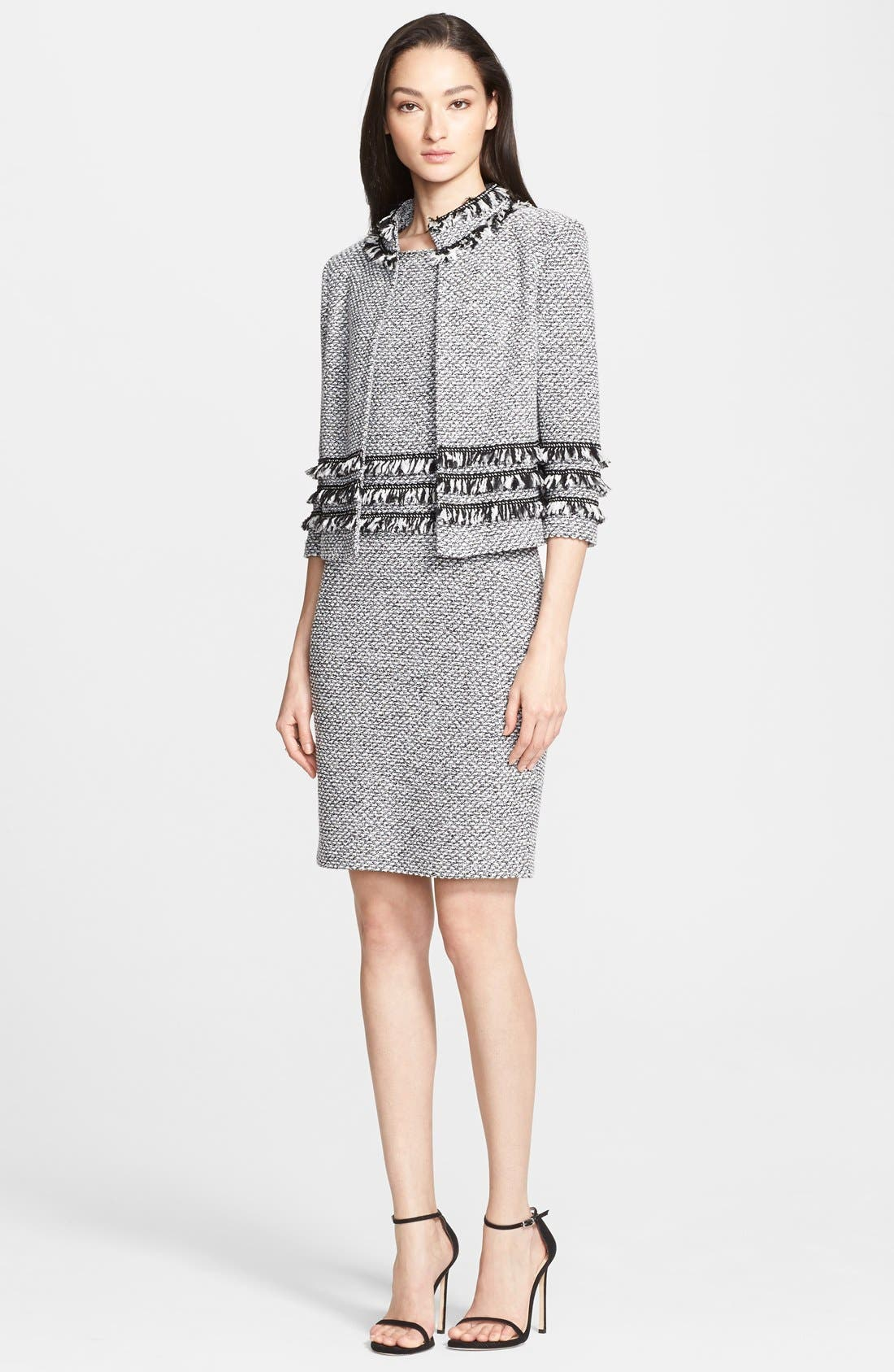 Alternate Image 4  - St. John Collection Marled Twill Knit Sheath Dress with Frayed Georgette Fringe