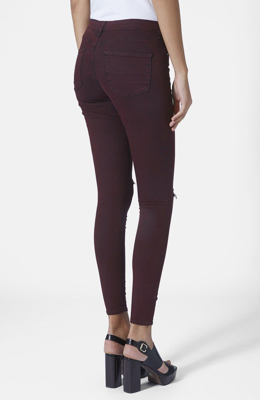 Alternate Image 2  - Topshop Moto Destructed Ultra Skinny Jeans (Purple) (Regular, Short & Long)