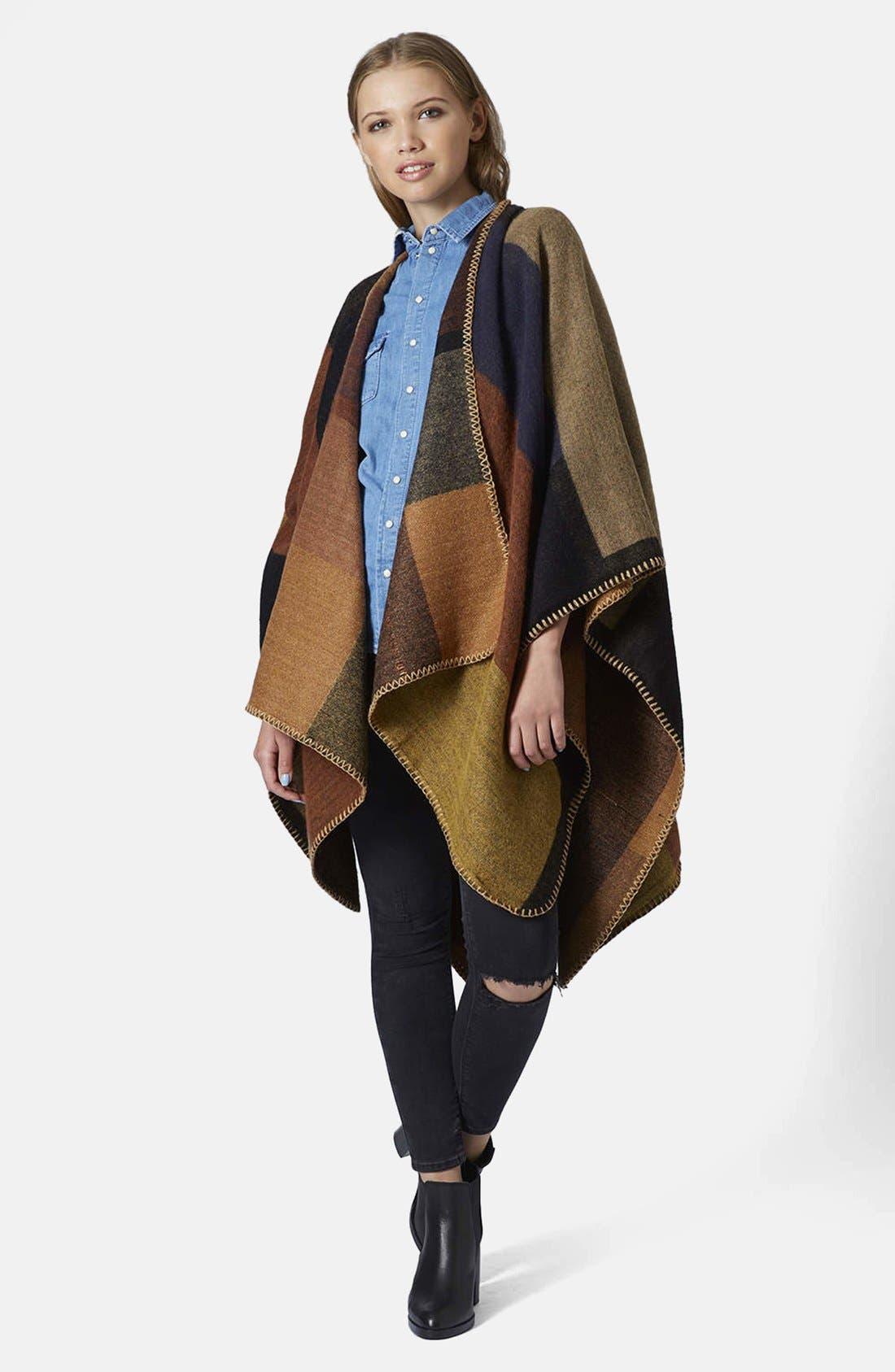 Alternate Image 5  - Topshop Blanket Stitch Cape
