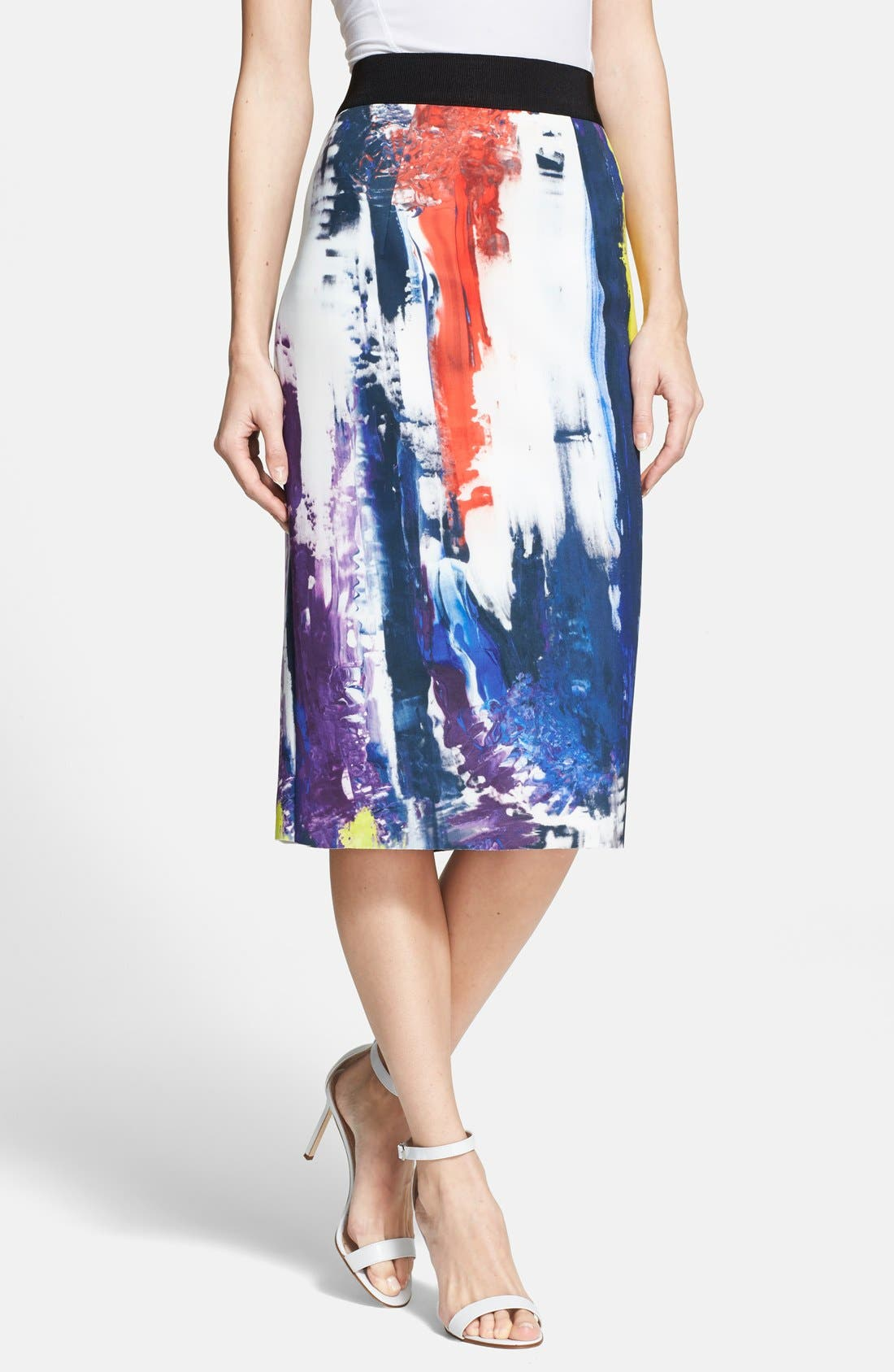 Main Image - Milly Graffiti Print Midi Skirt