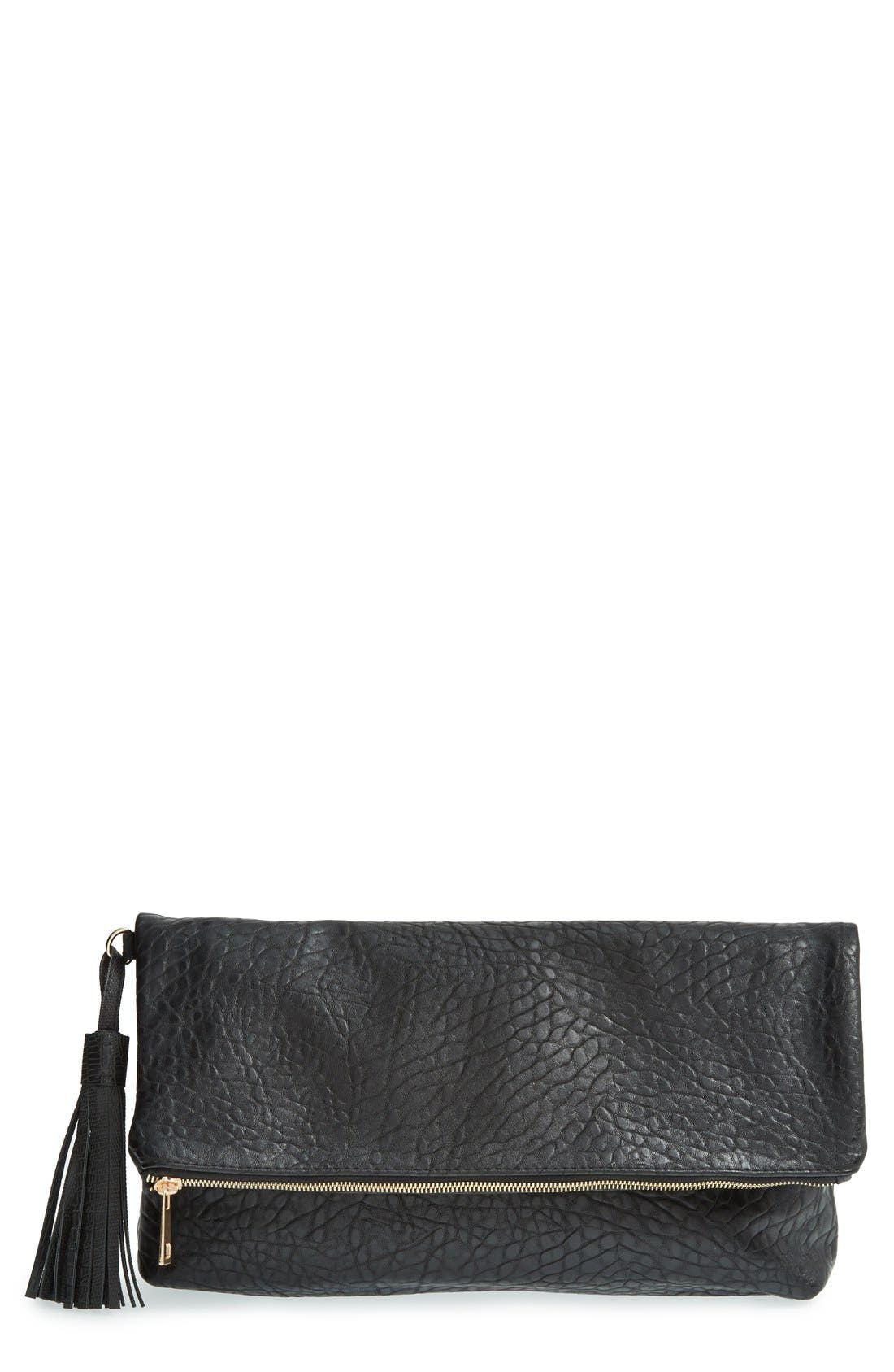 Main Image - Topshop 'Merino' Faux Leather Foldover Clutch