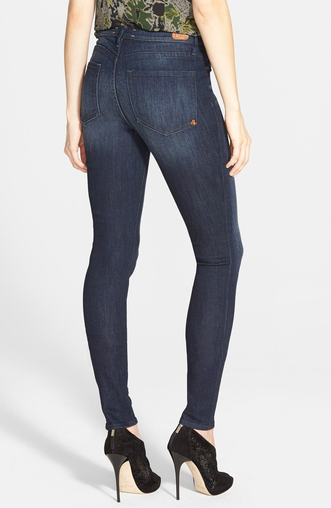 Alternate Image 2  - Dittos Mid Rise Super Skinny Jeans (Blue)