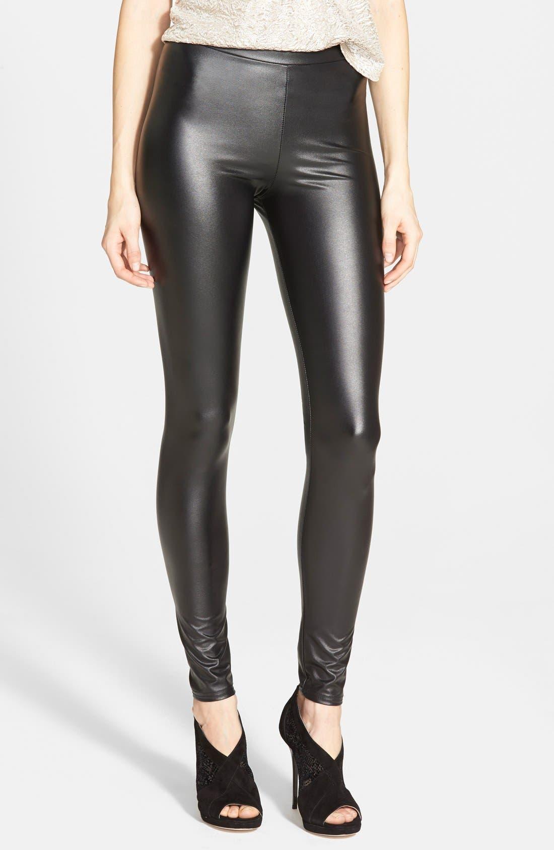 Main Image - Topshop Textured Wet Look Leggings (Regular & Petite)