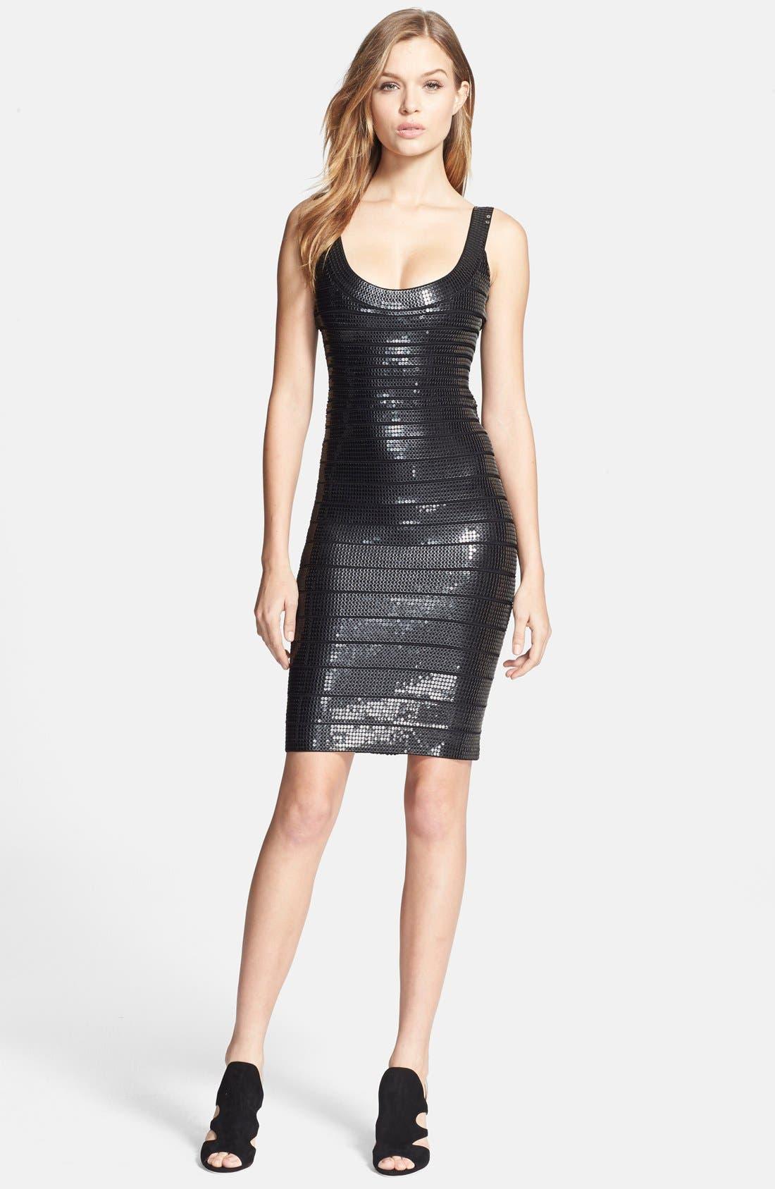 Alternate Image 1 Selected - Herve Leger Sequin Bandage Pencil Dress