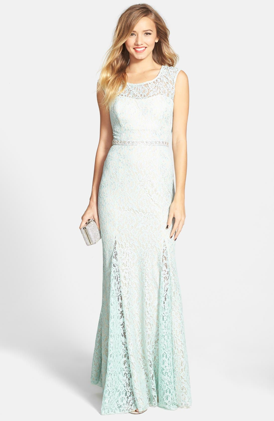 Main Image - Sequin Hearts Embellished Metallic Lace Gown (Juniors)