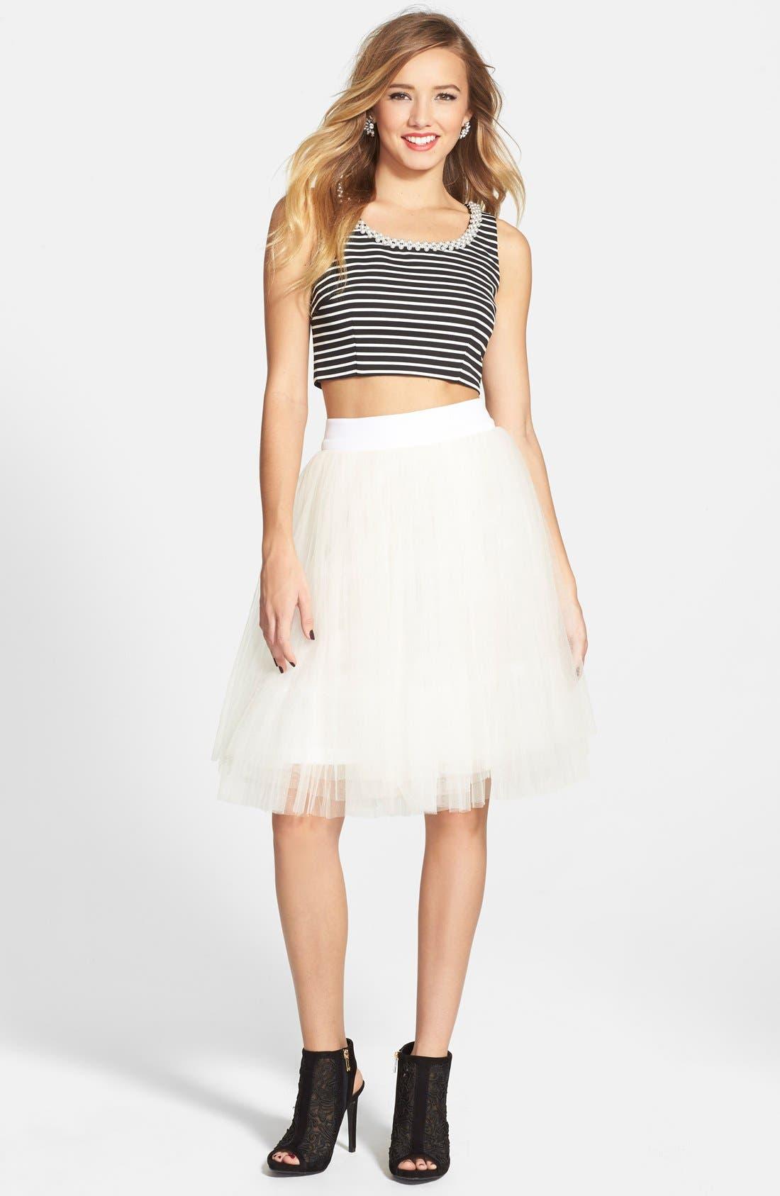 Alternate Image 1 Selected - a. drea Embellished Two-Piece Ballerina Dress (Juniors)