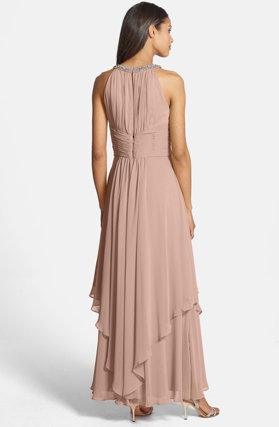 Alternate Image 2  - Eliza J Embellished Tiered Chiffon Halter Gown