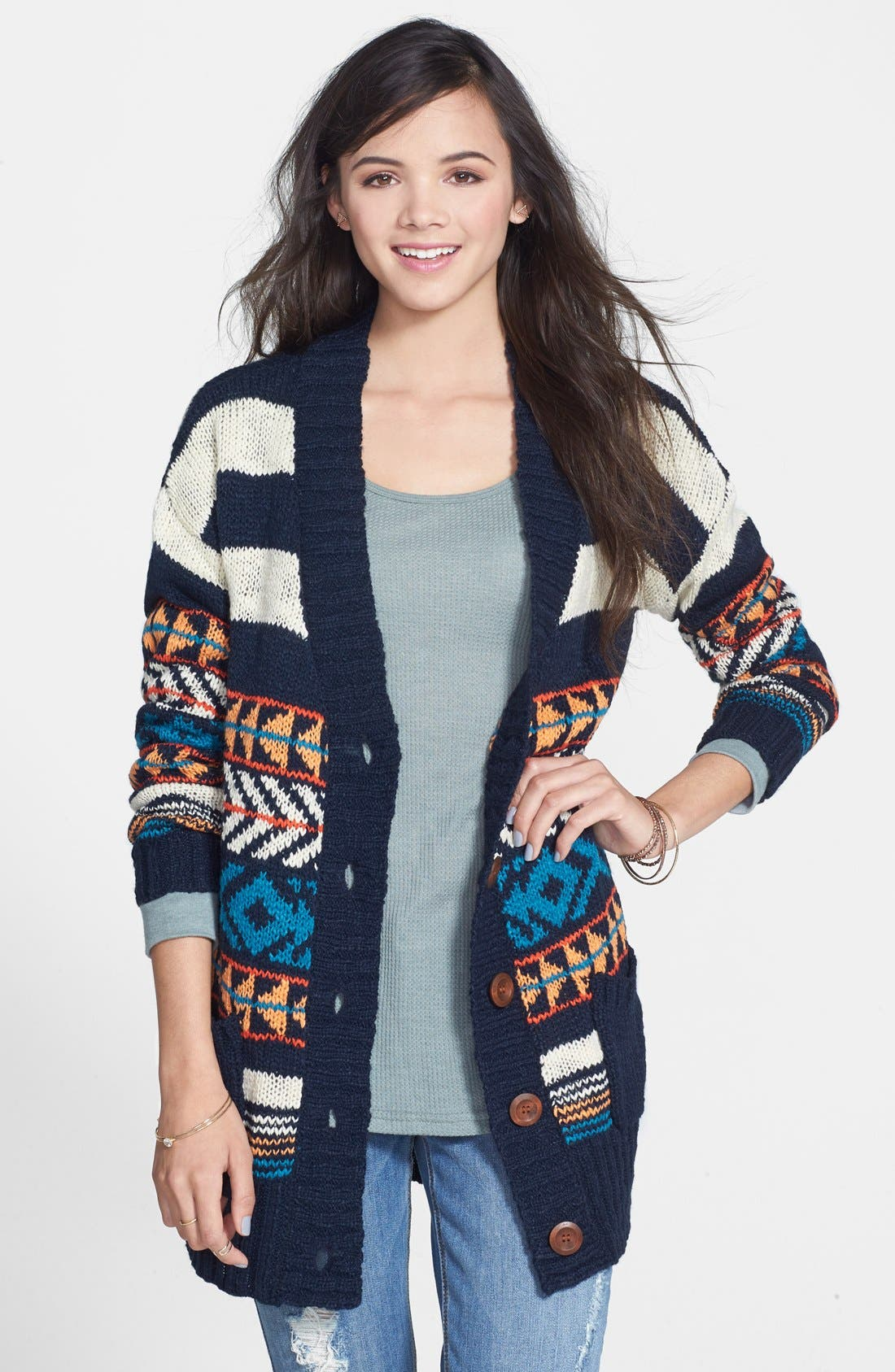 Alternate Image 1 Selected - Woven Heart Pattern Cardigan (Juniors)
