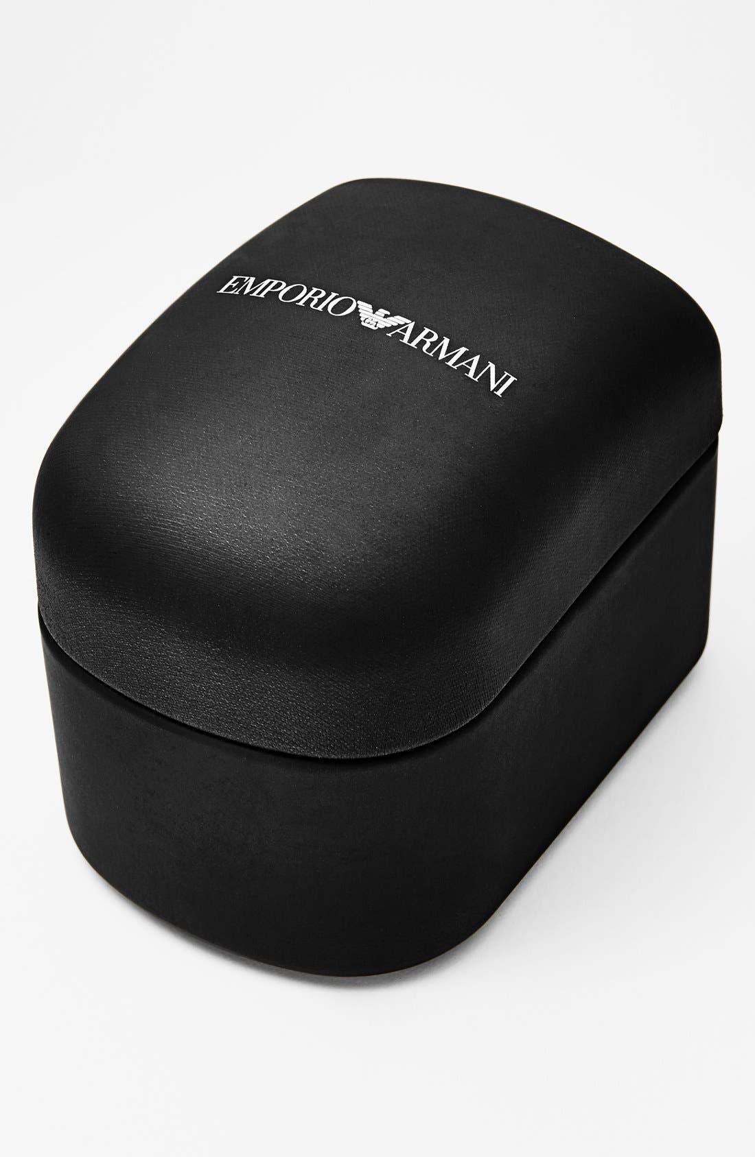 Alternate Image 4  - Emporio Armani Baguette Crystal Bezel Leather Strap Watch, 28mm