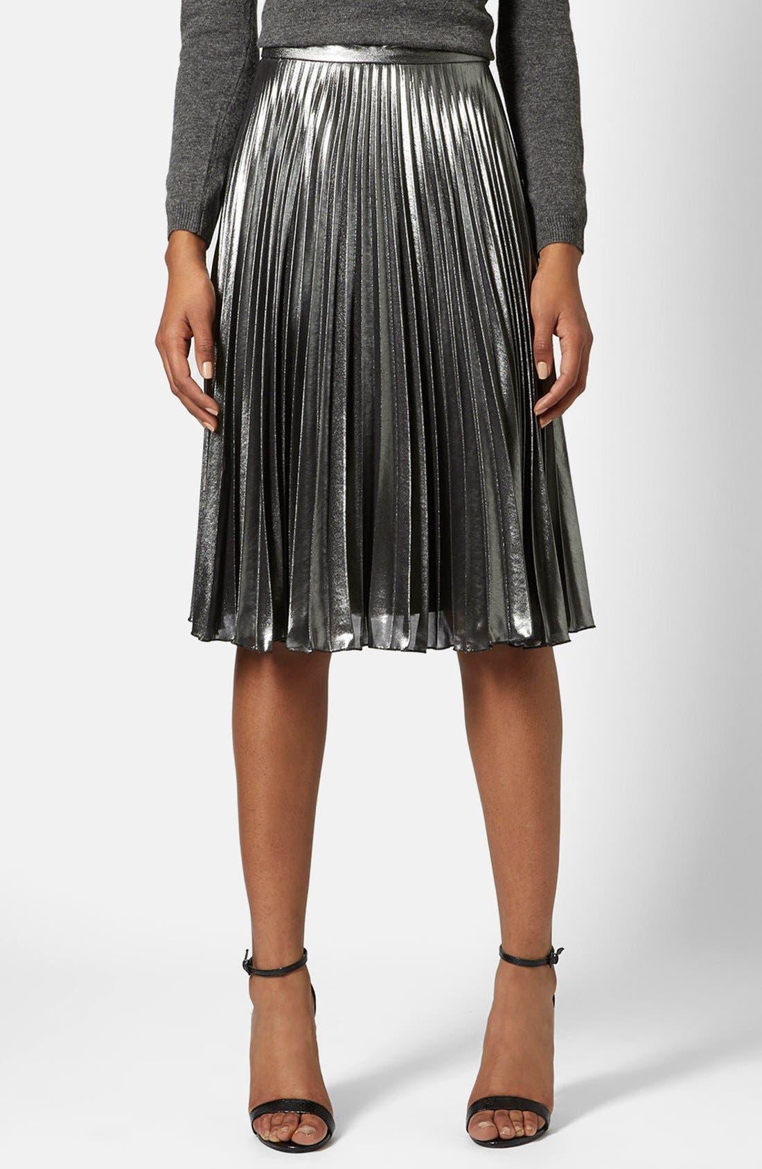 Main Image - Topshop Pleated Midi Skirt