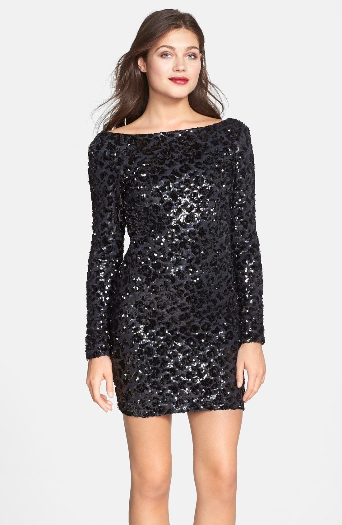 Alternate Image 1 Selected - Dress the Population 'Lola' Animal Sequin Dress