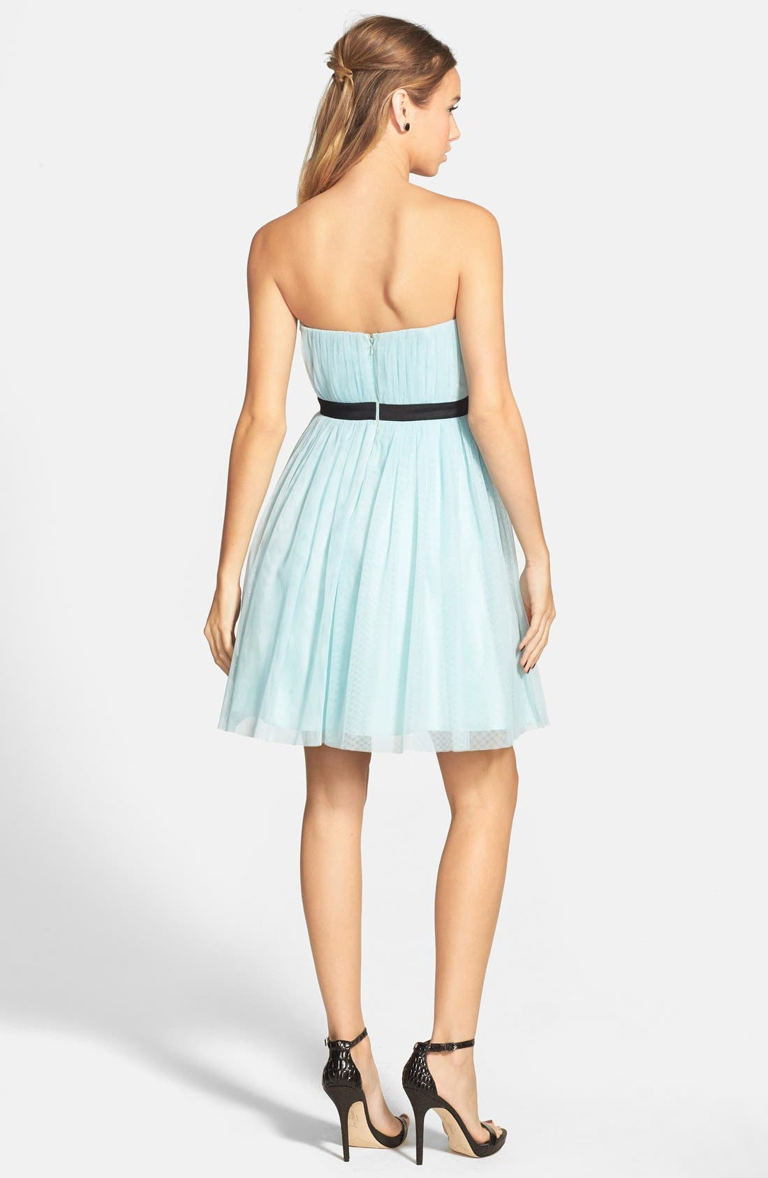 Alternate Image 2  - a. drea Lace Inset Strapless Ballerina Dress (Juniors)