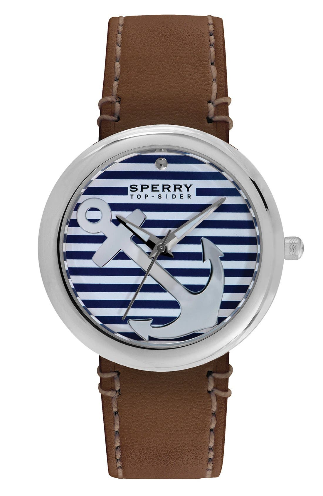 Alternate Image 1 Selected - Sperry 'Sandbar' Anchor Dial Leather Strap Watch, 40mm