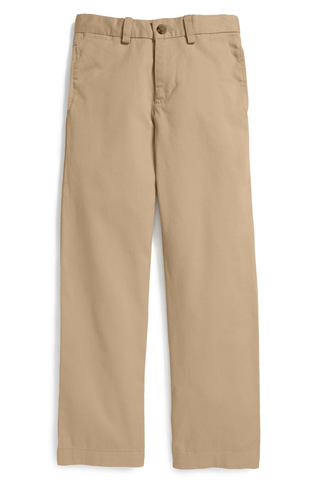 Alternate Image 1 Selected - Ralph Lauren 'Suffield' Flat Front Cotton Chinos (Big Boys)
