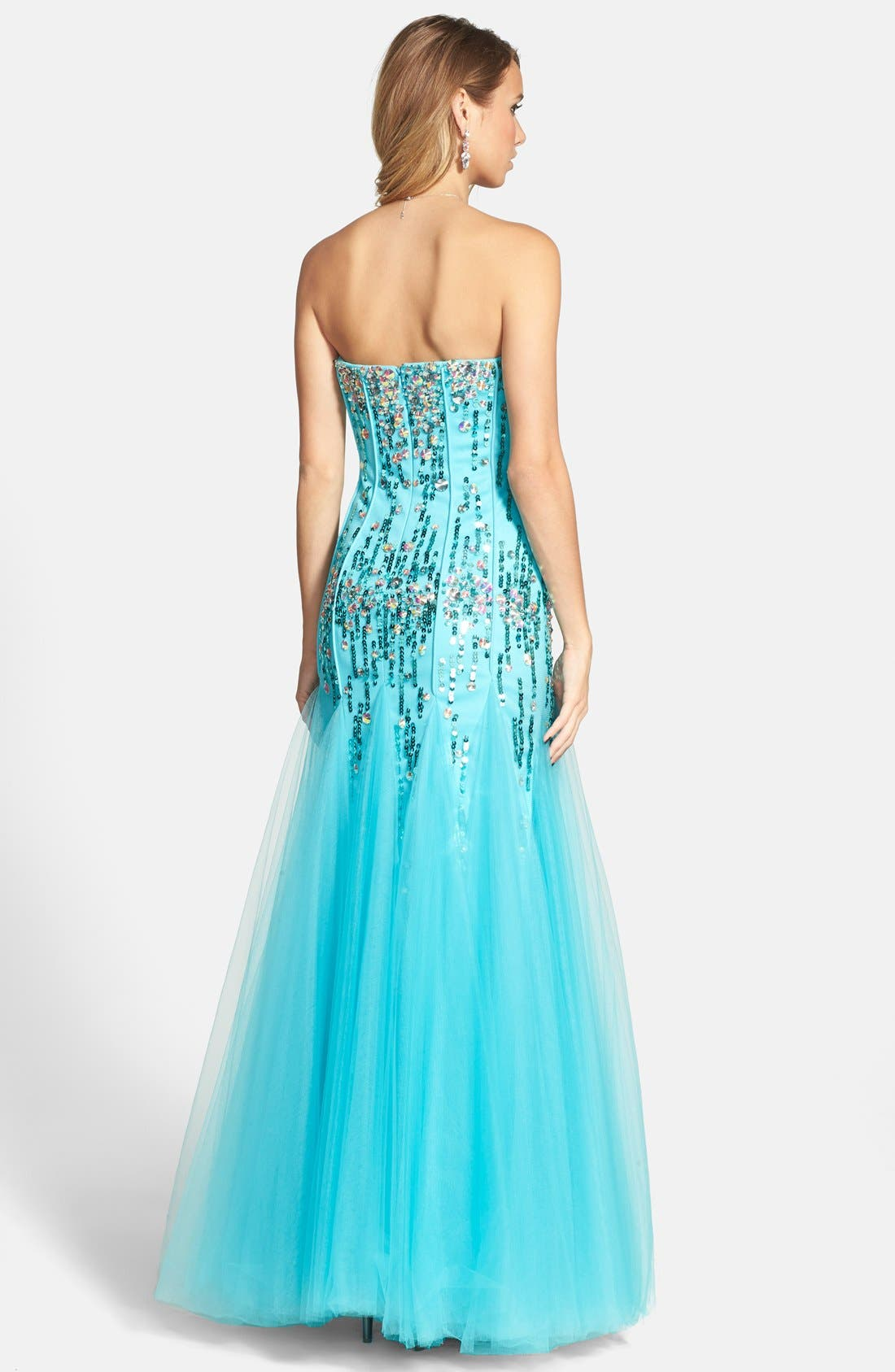 Alternate Image 2  - Sean Collection Sequin & Tulle Strapless Gown