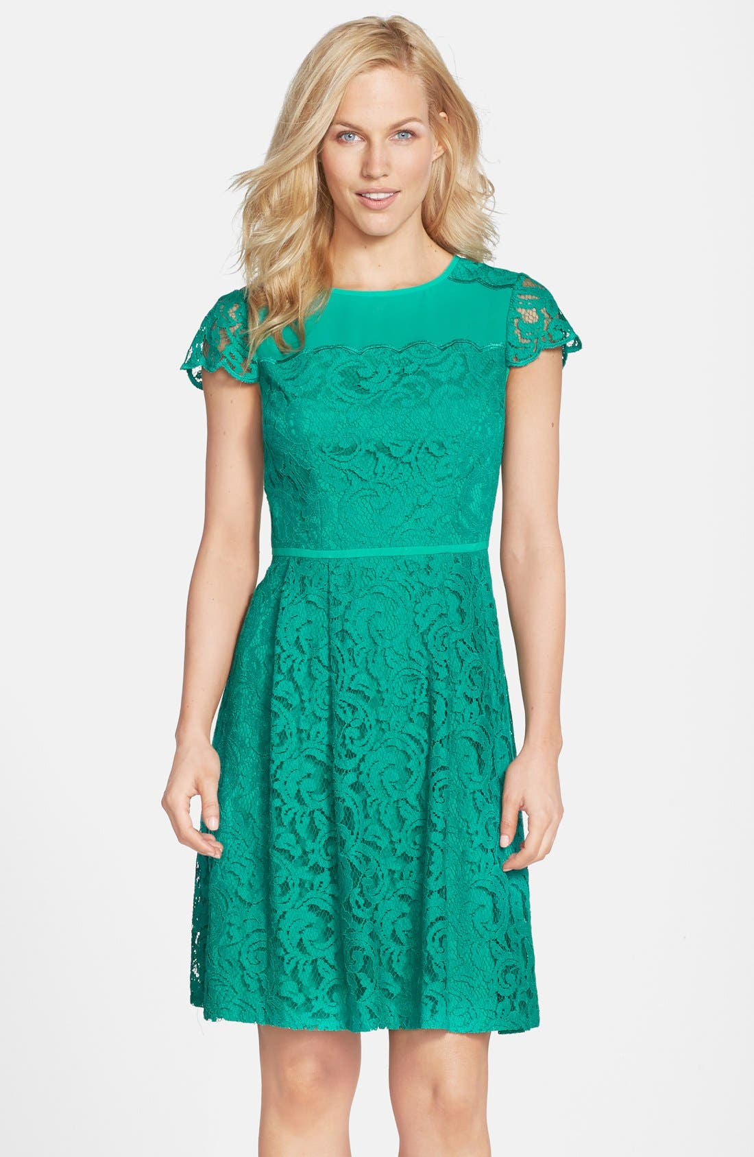 Main Image - Adrianna Papell Cap Sleeve Lace Fit & Flare Dress