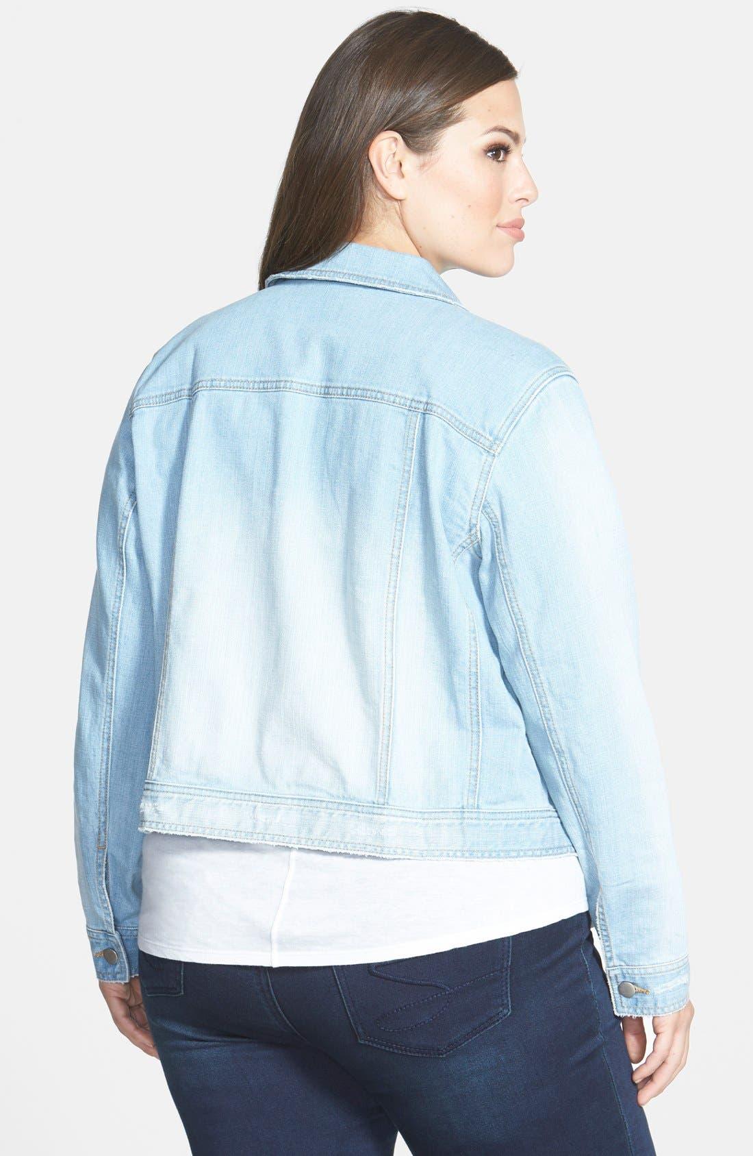 Alternate Image 2  - Sejour 'Bluejay' Crop Denim Jacket (Plus Size)