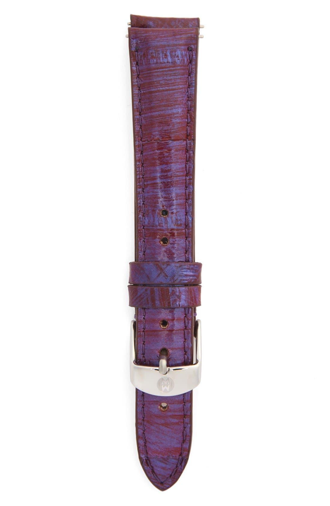 Main Image - MICHELE 16mm Metallic Snakeskin Strap