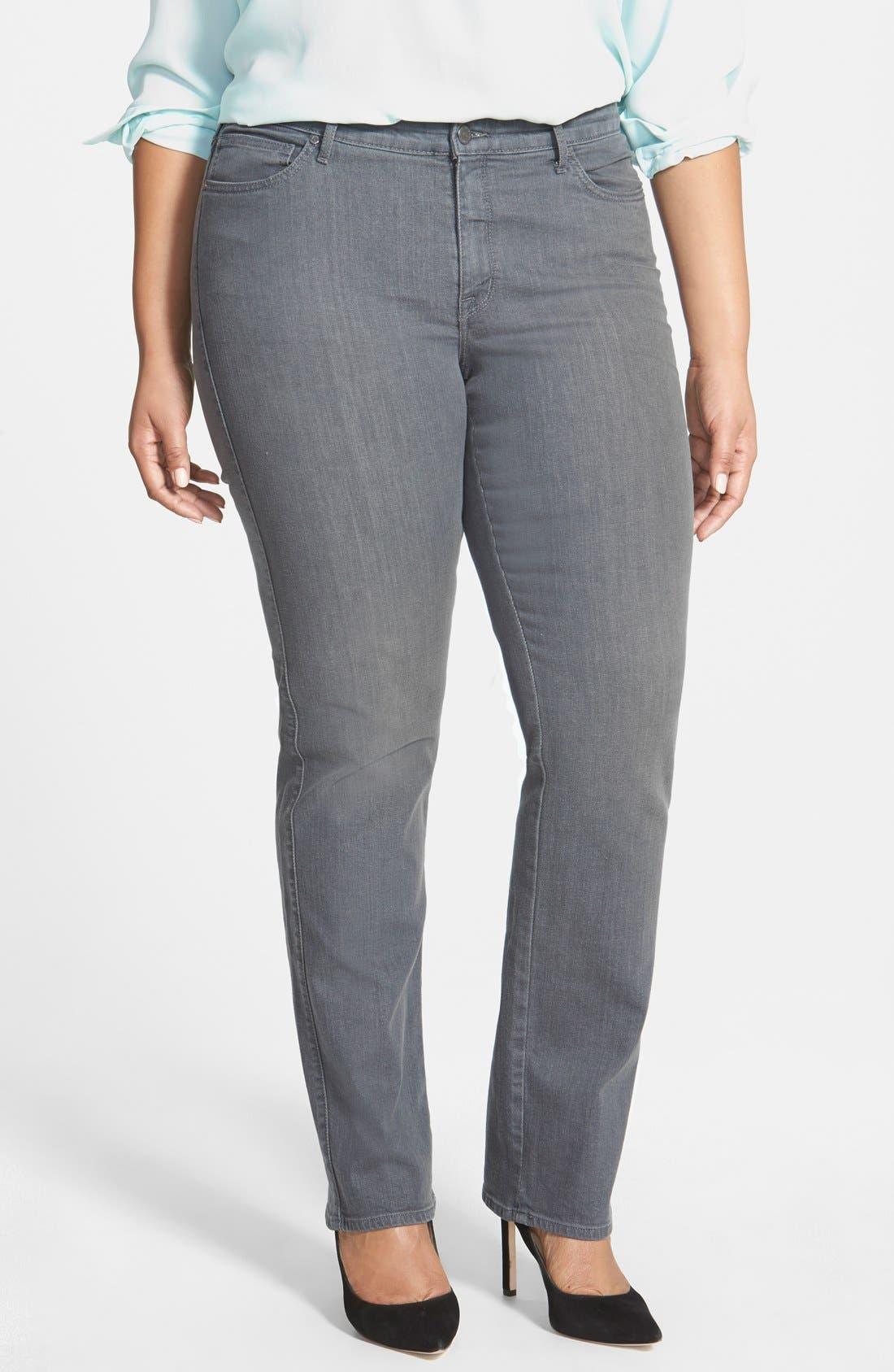 Main Image - CJ by Cookie Johnson 'Faith' Stretch Straight Leg Jeans (Plus Size)