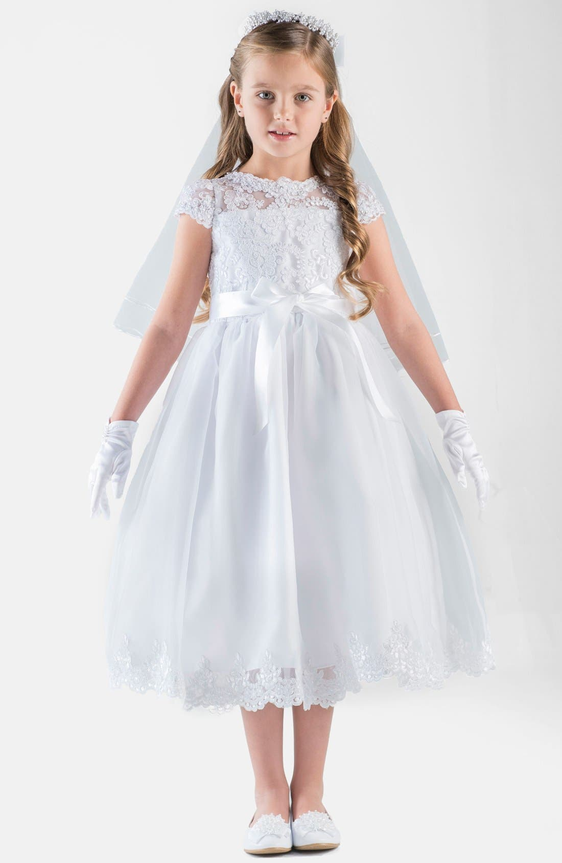 Us Angels Cap Sleeve Illusion Lace Dress (Big Girls)