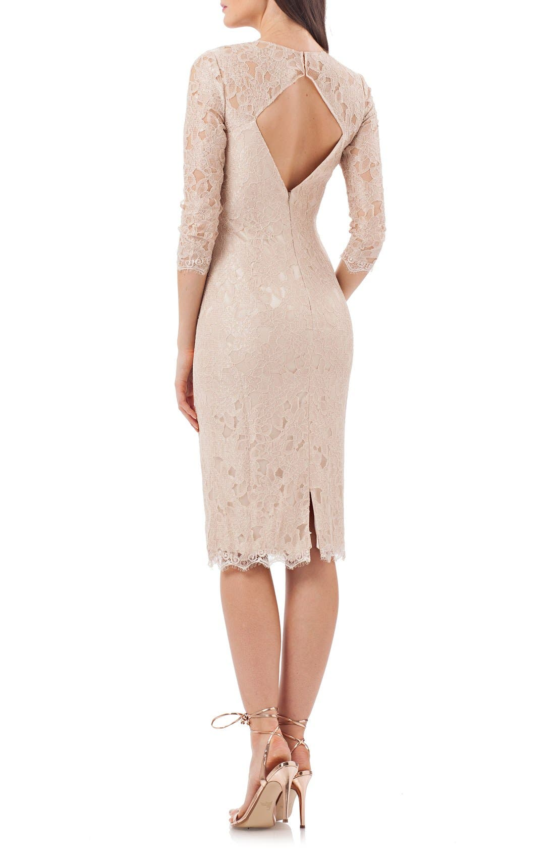 Alternate Image 2  - JS Collections Lace Sheath Dress (Regular & Petite)