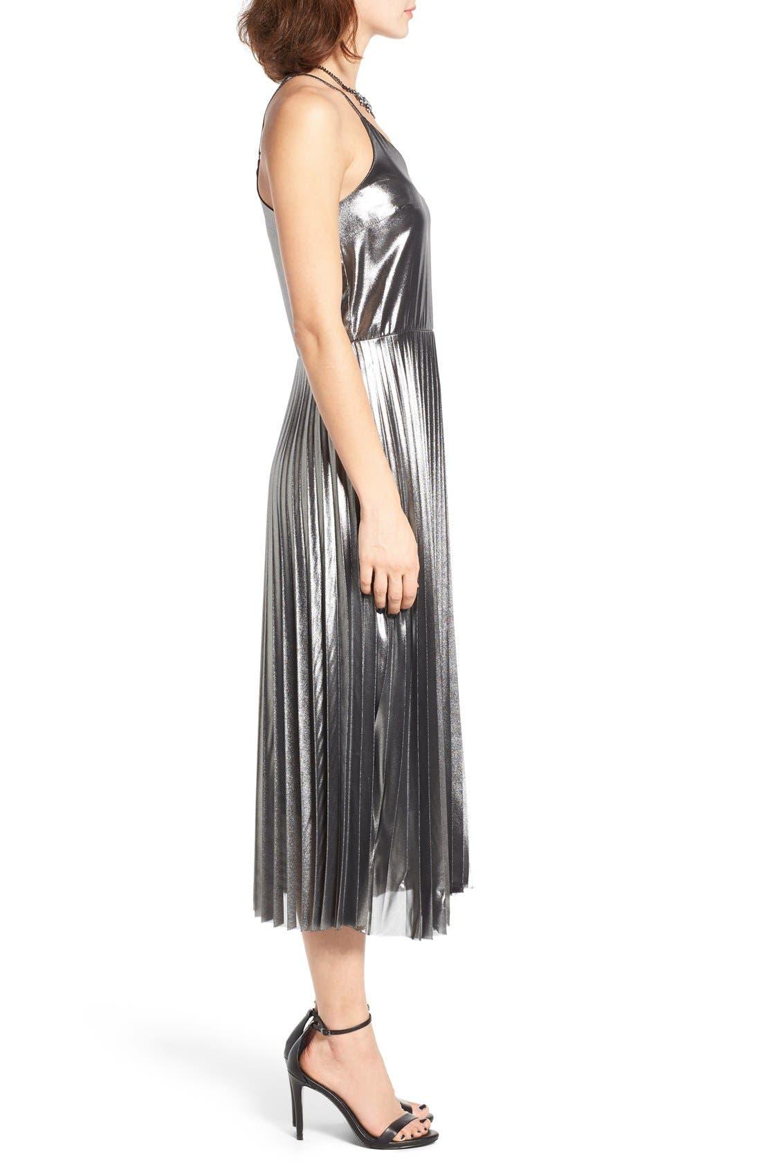 Alternate Image 4  - Love, Fire Pleated Foil Midi Dress