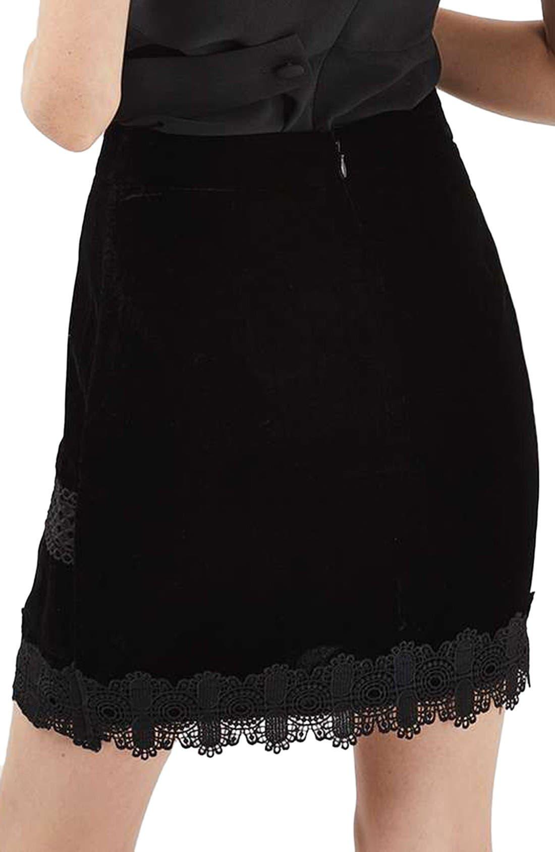 Alternate Image 3  - Topshop Velvet & Lace Miniskirt