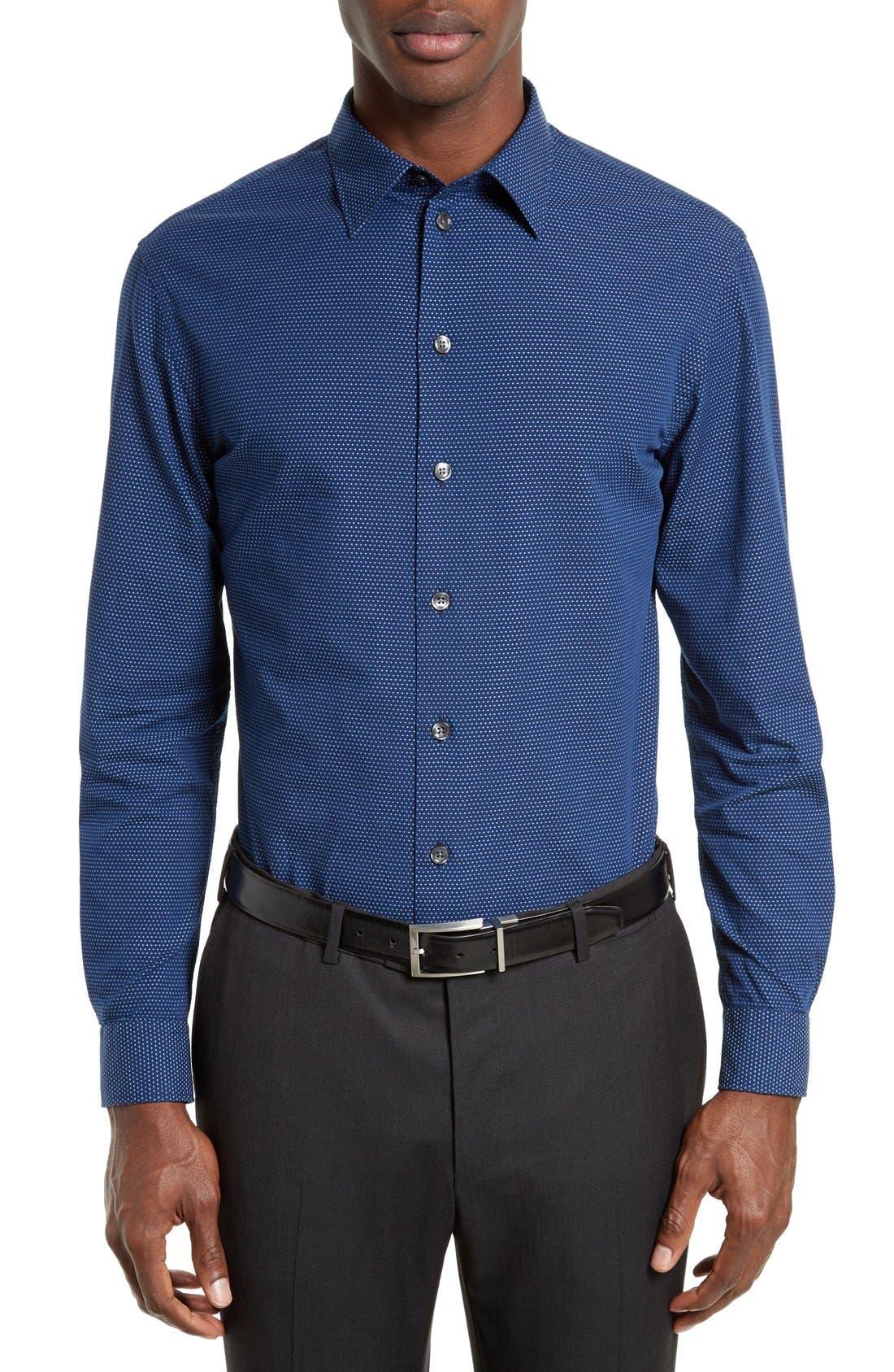 ARMANI COLLEZIONI Trim Fit Micro Pattern Sport Shirt