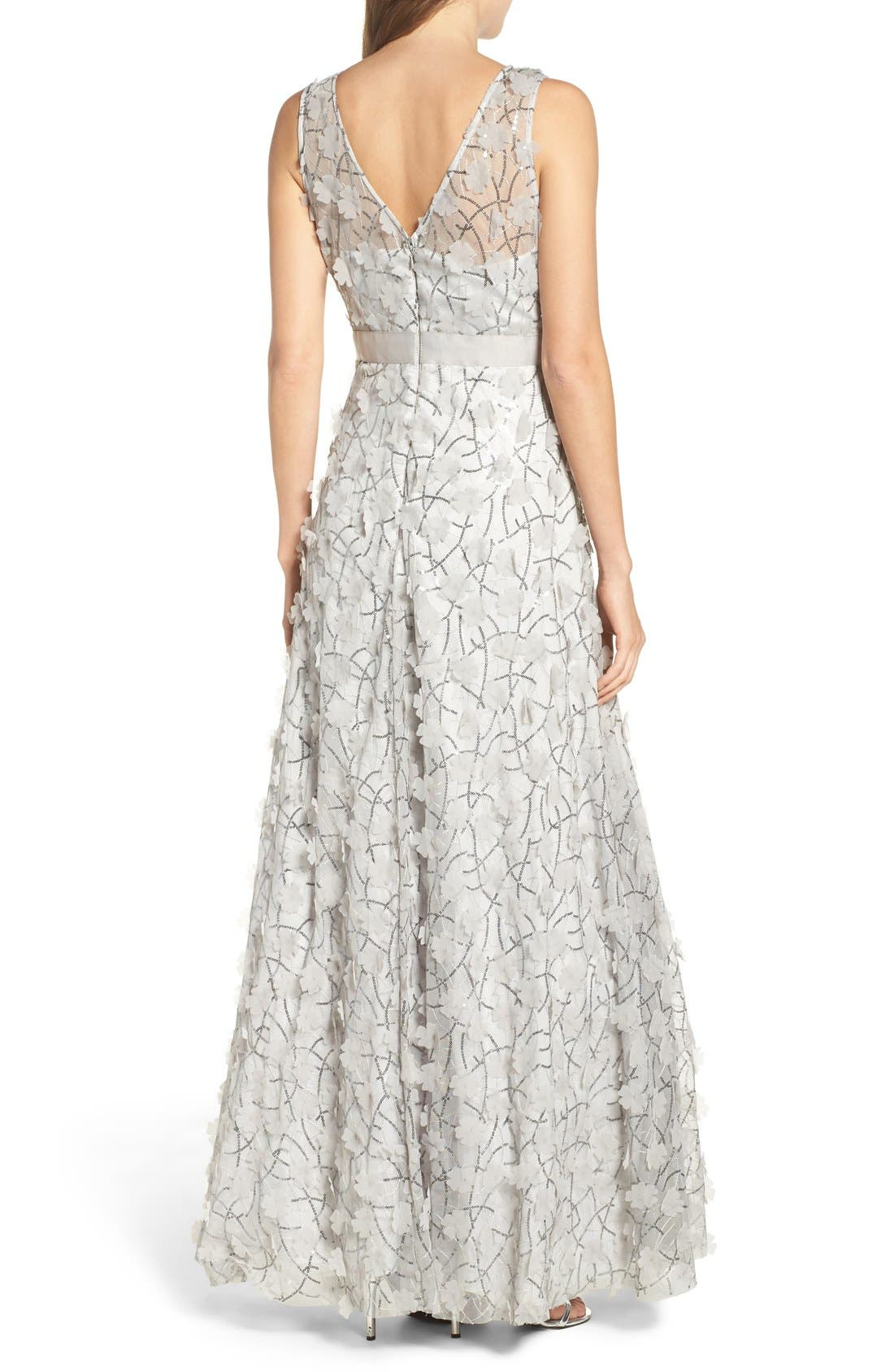 Alternate Image 2  - Eliza J Embellished Mesh Ballgown (Regular & Petite)