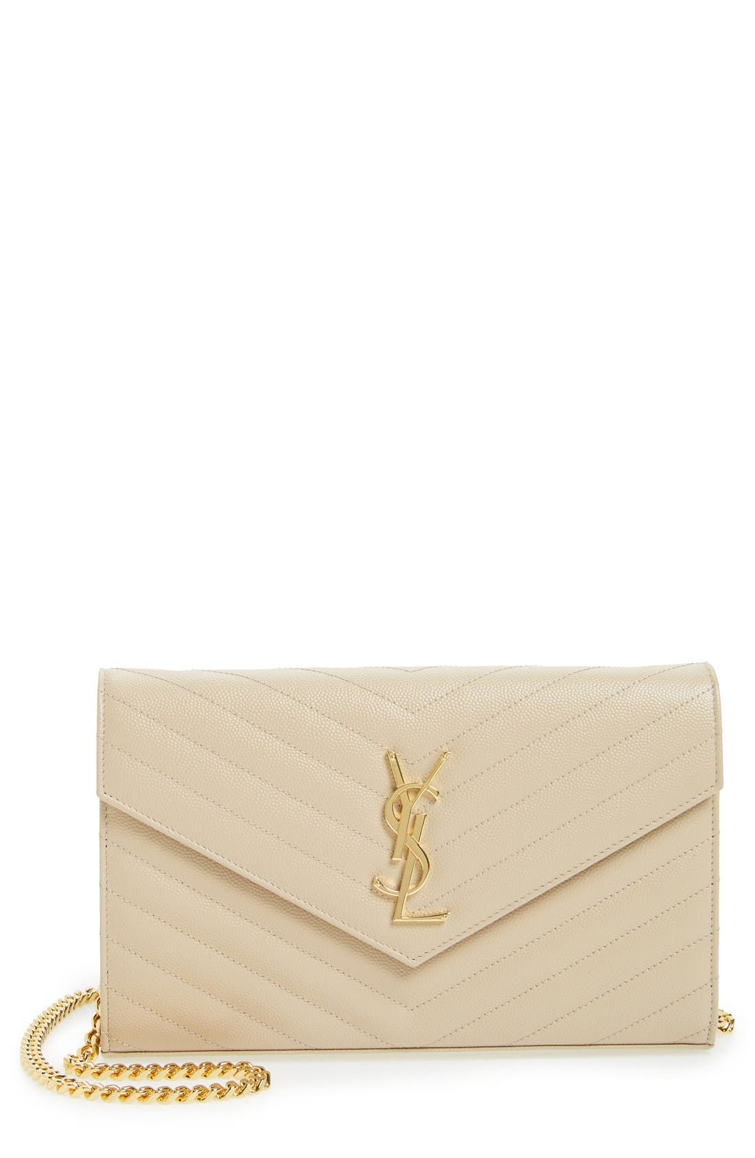 SAINT LAURENT 'Large Monogram' Quilted Leather Wallet on