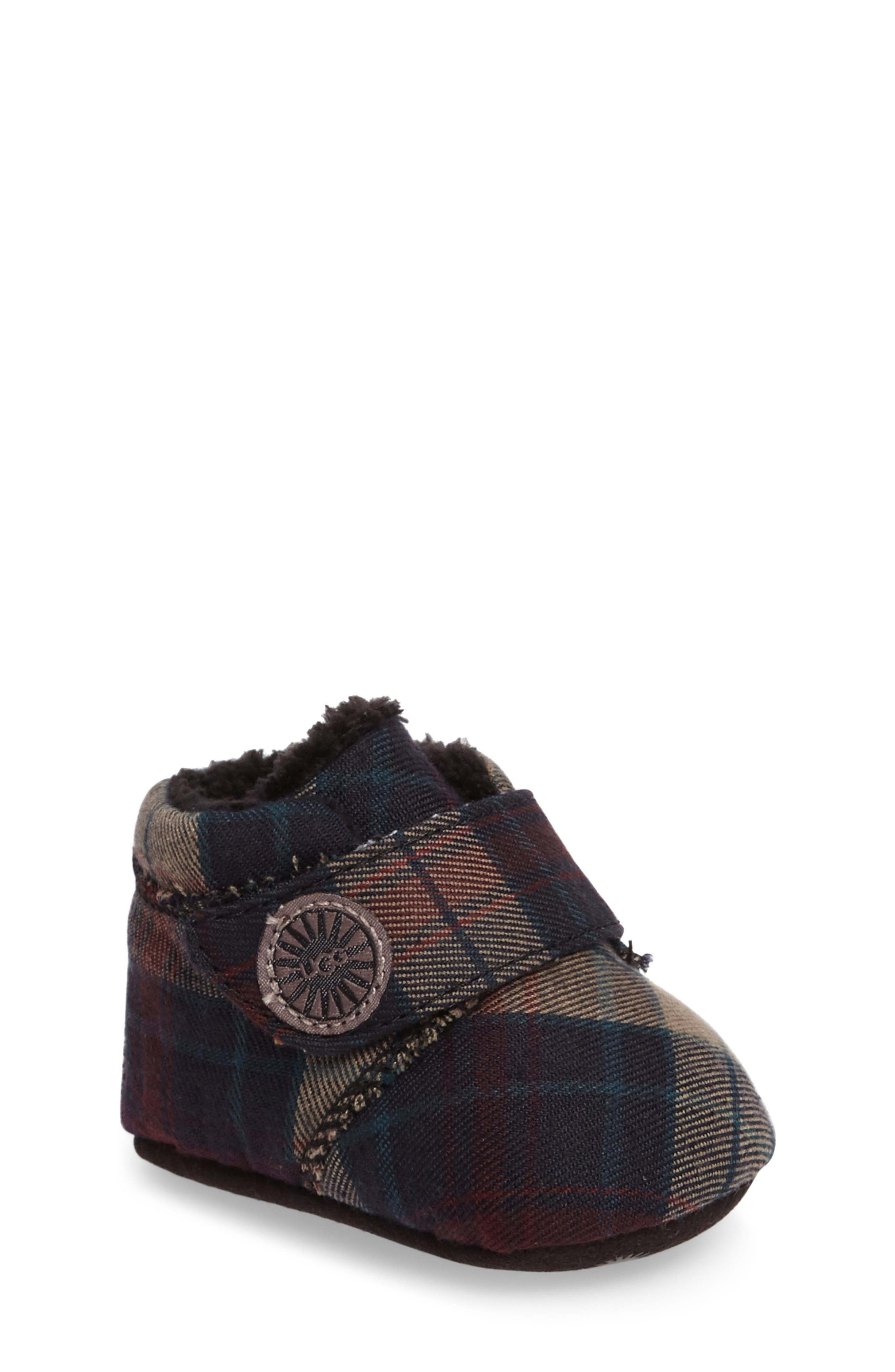 Alternate Image 1 Selected - UGG® Bixbee Plaid Crib Bootie (Baby)
