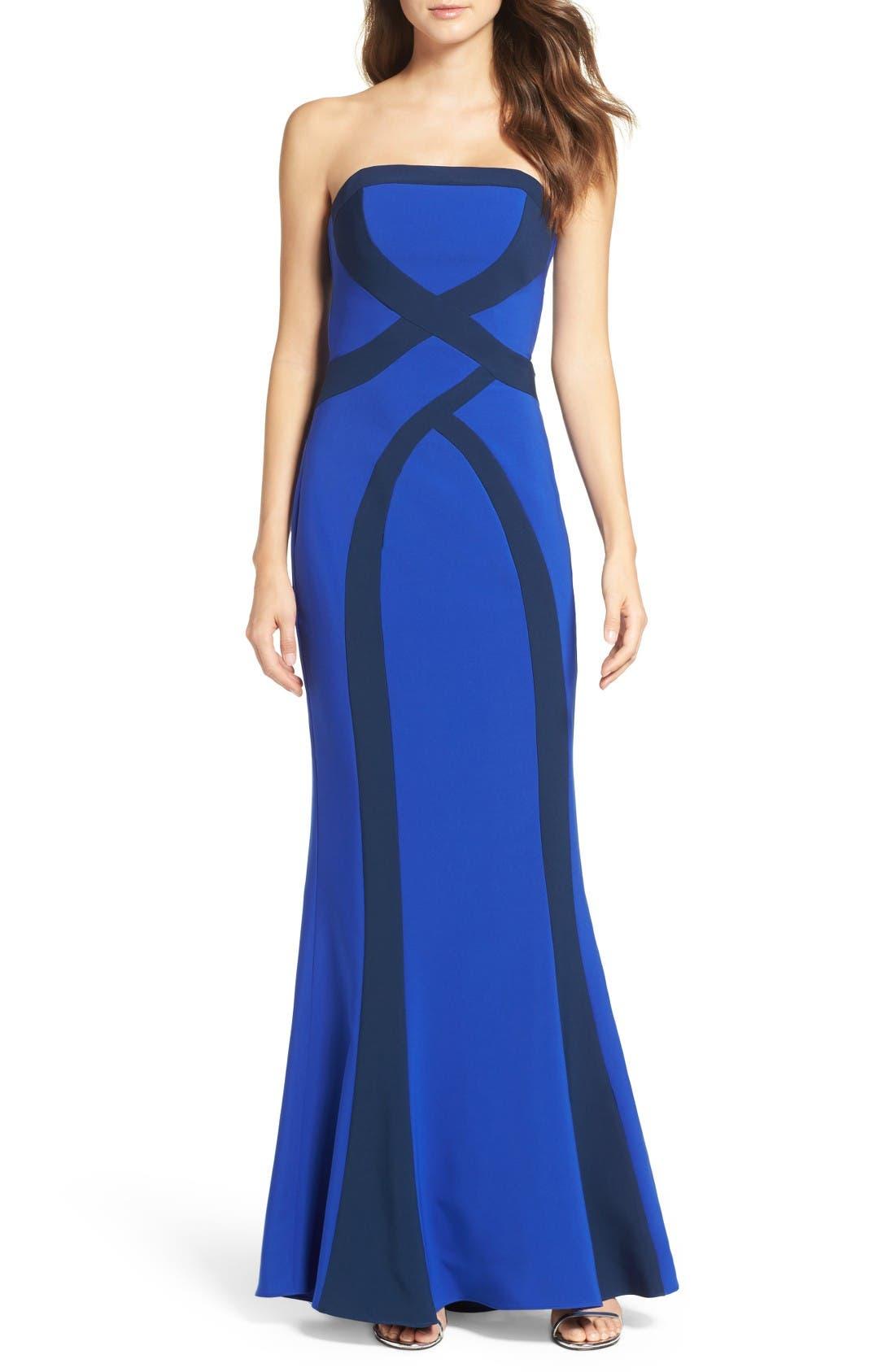 MARIA BIANCA NERO Strapless Stripe Woven Gown